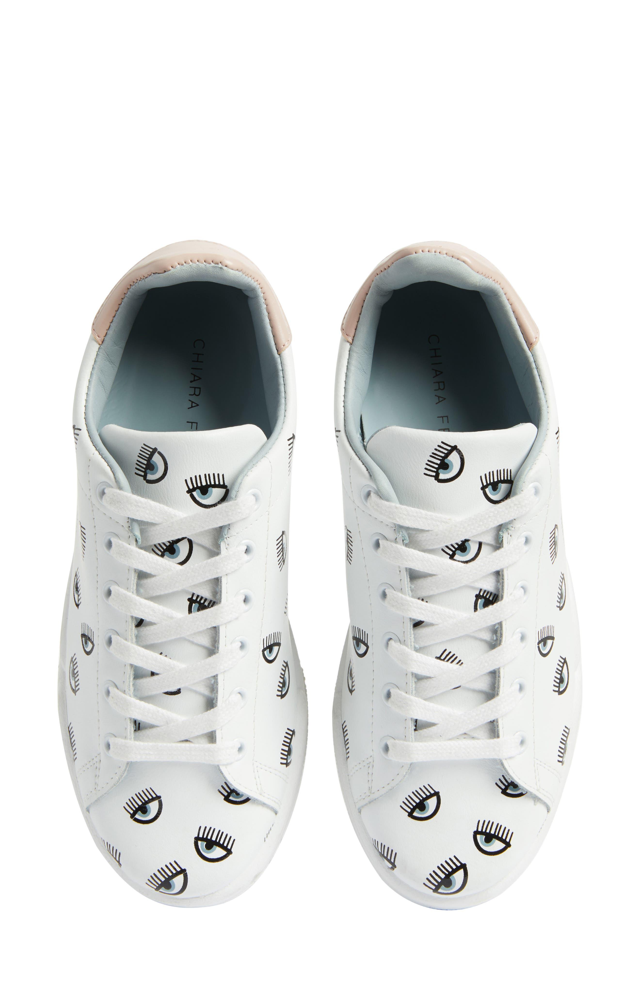 Logo Roger Eyelash Sneaker,                             Main thumbnail 1, color,                             White