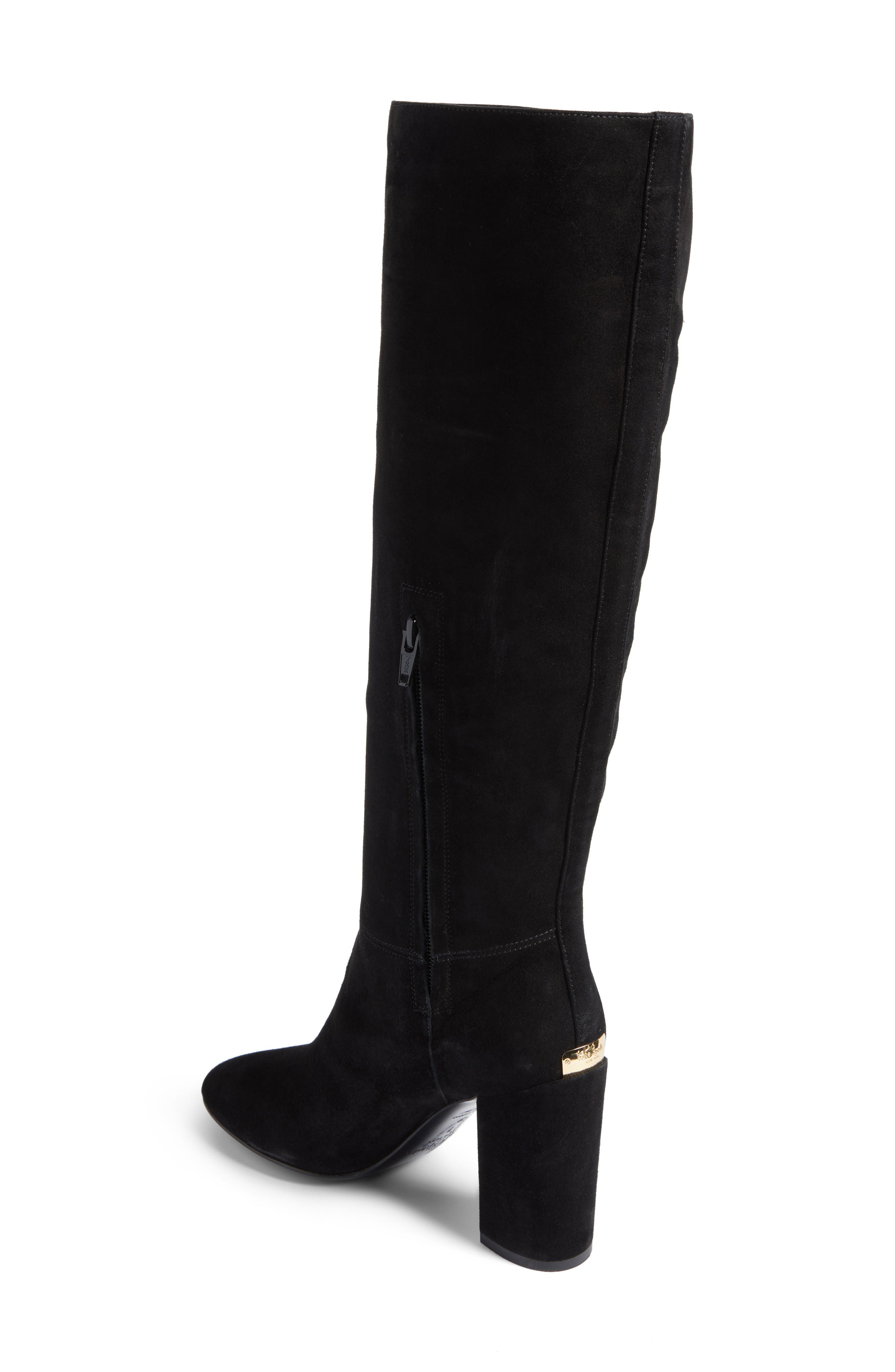 greenfield flower embroidered boot,                             Alternate thumbnail 3, color,                             Black Suede