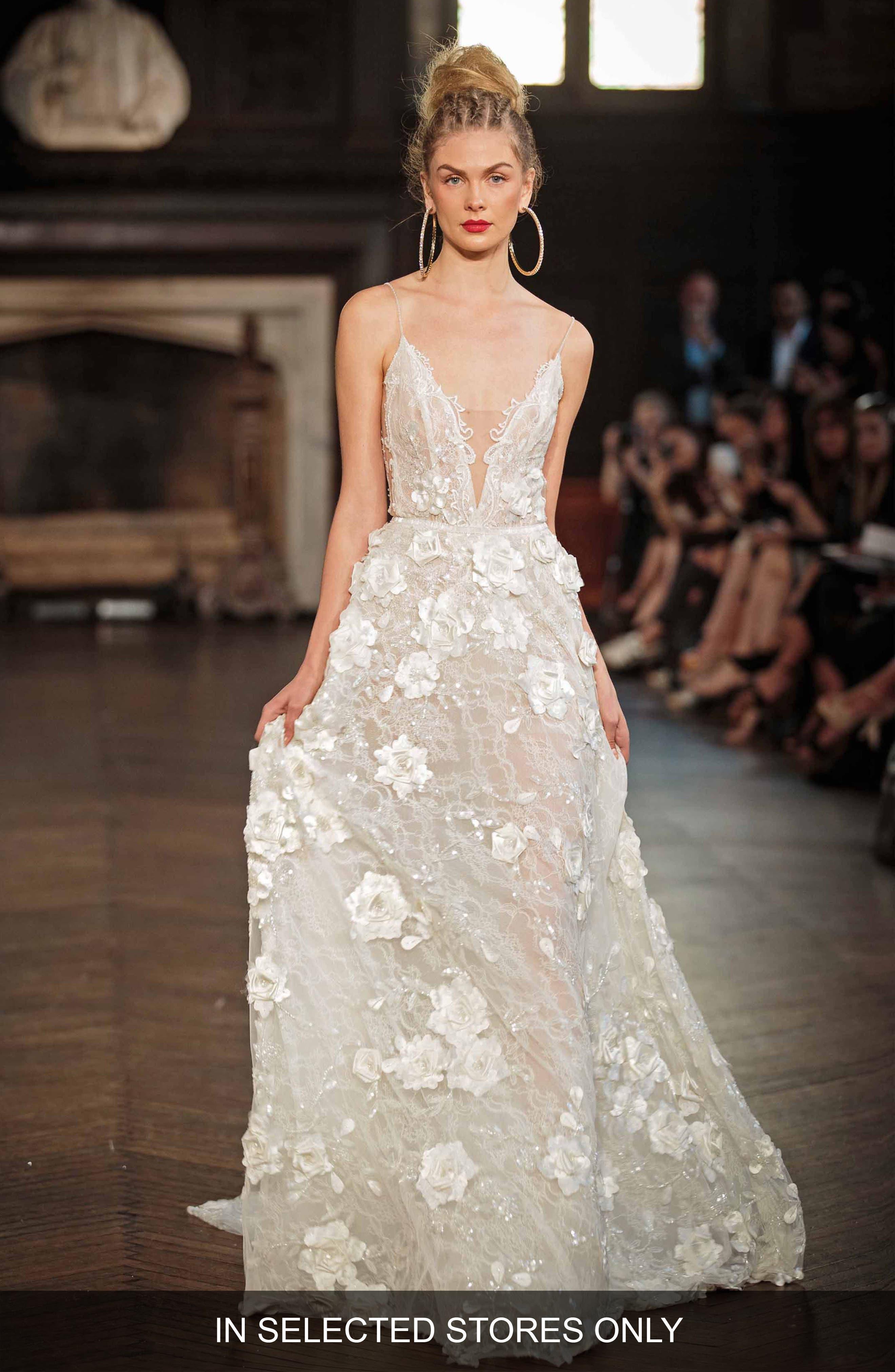 V-Neck Appliqué A-Line Gown,                         Main,                         color, Ivory