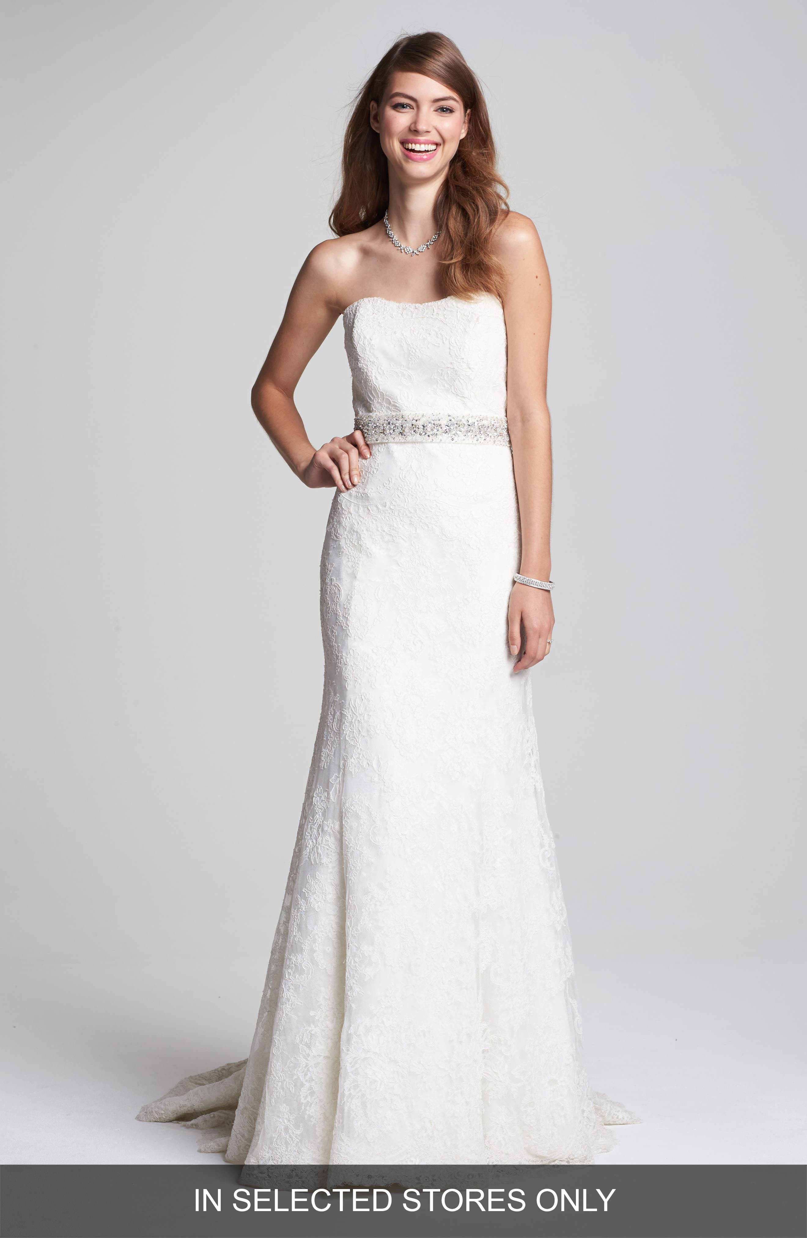 Main Image - BLISS Monique Lhuillier Strapless Lace Wedding Dress with Beaded Waist (In Stores Only)