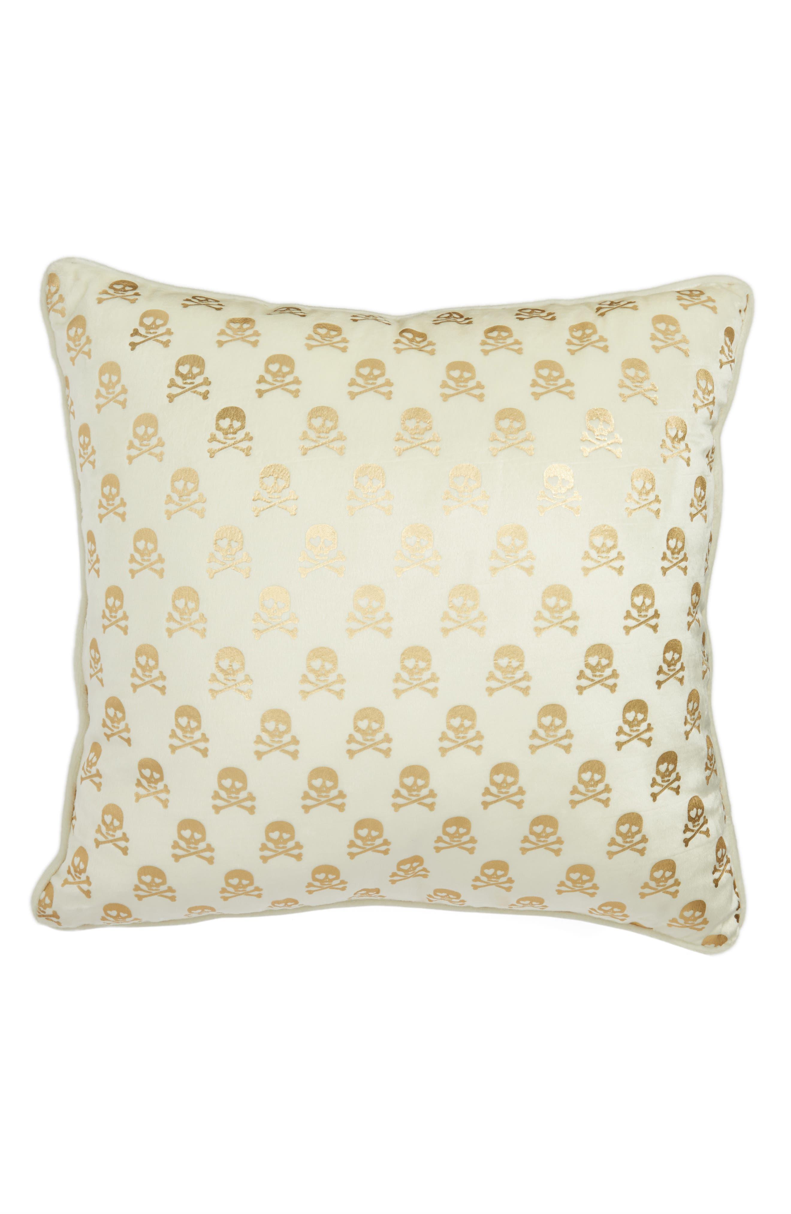 Skull Velvet Accent Pillow,                             Alternate thumbnail 2, color,                             White