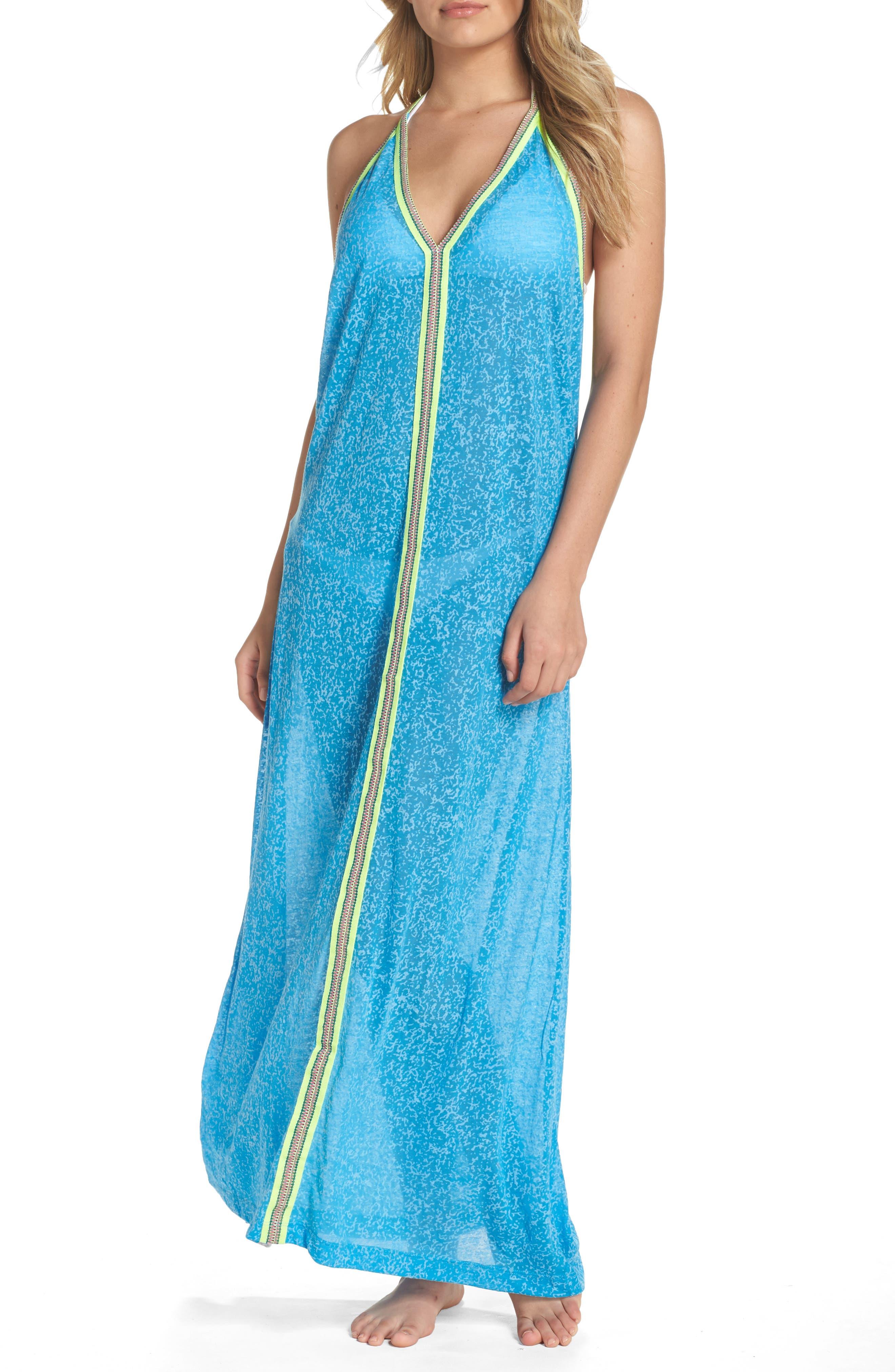 Cover-Up Maxi Dress,                         Main,                         color, Blue