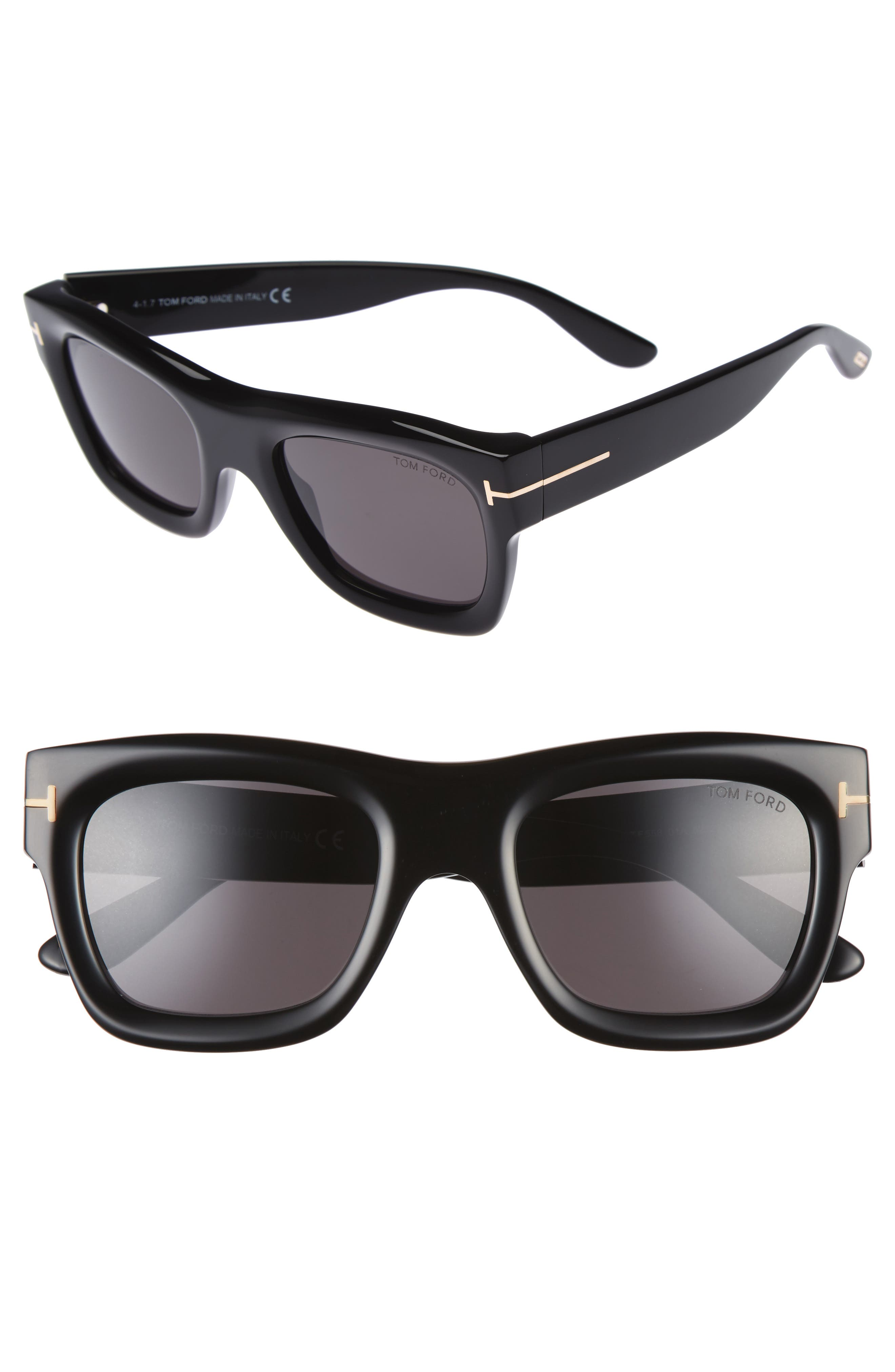 Wagner 52mm Sunglasses,                         Main,                         color, Shiny Black / Smoke
