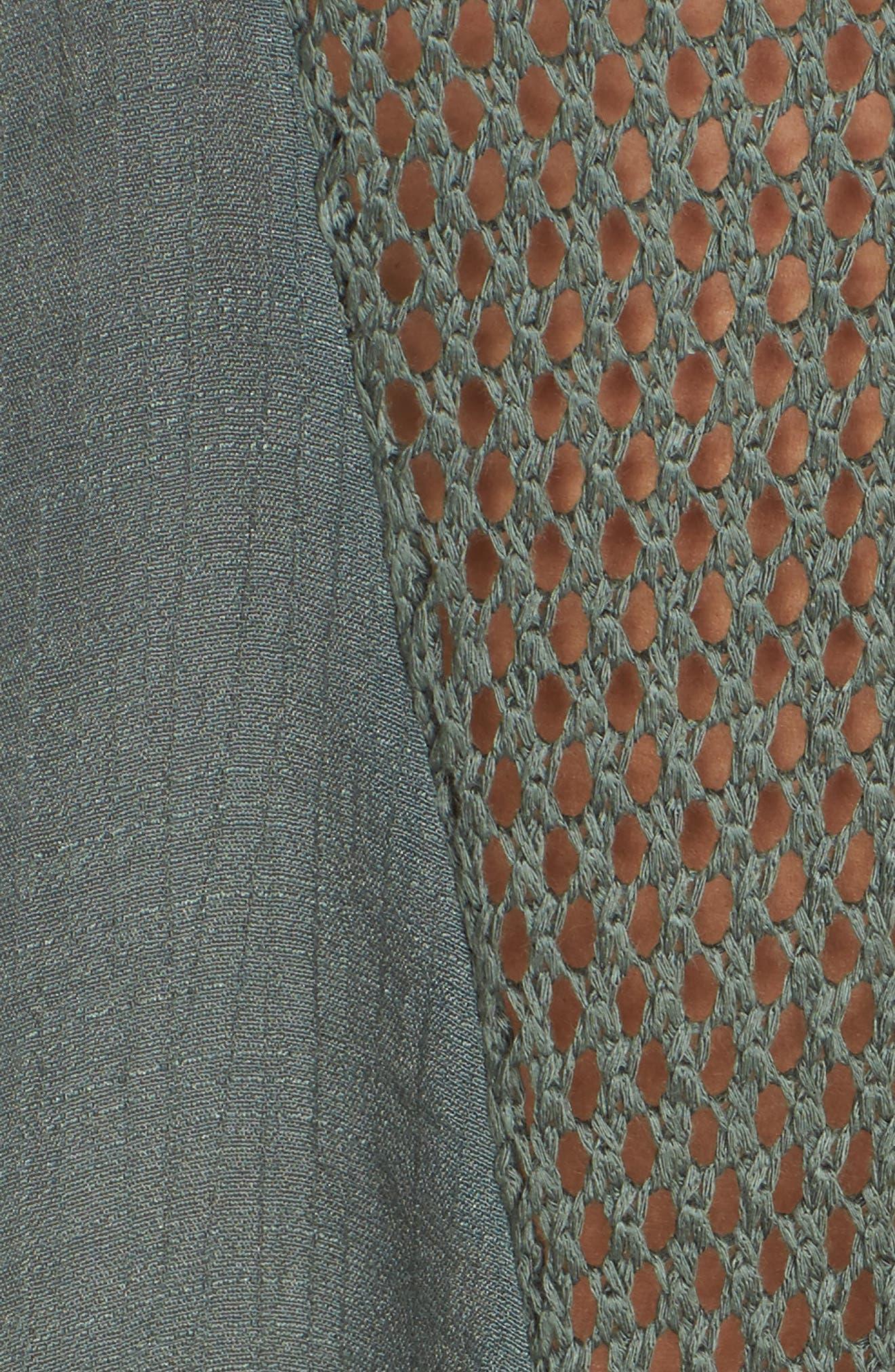 Crochet Inset Cover-Up Dress,                             Alternate thumbnail 5, color,                             Olive