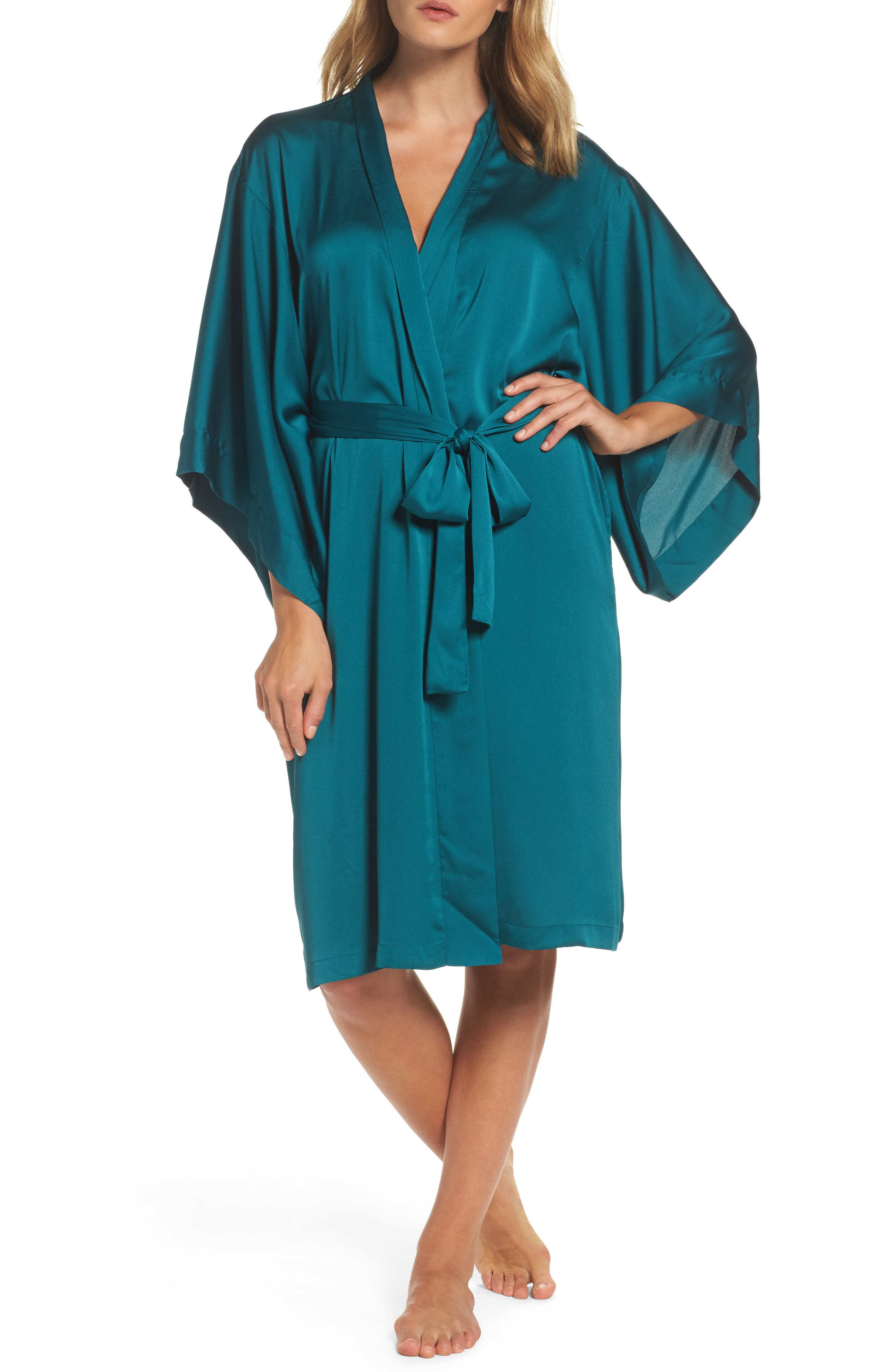 Feathers Satin Wrap,                         Main,                         color, Blue Green