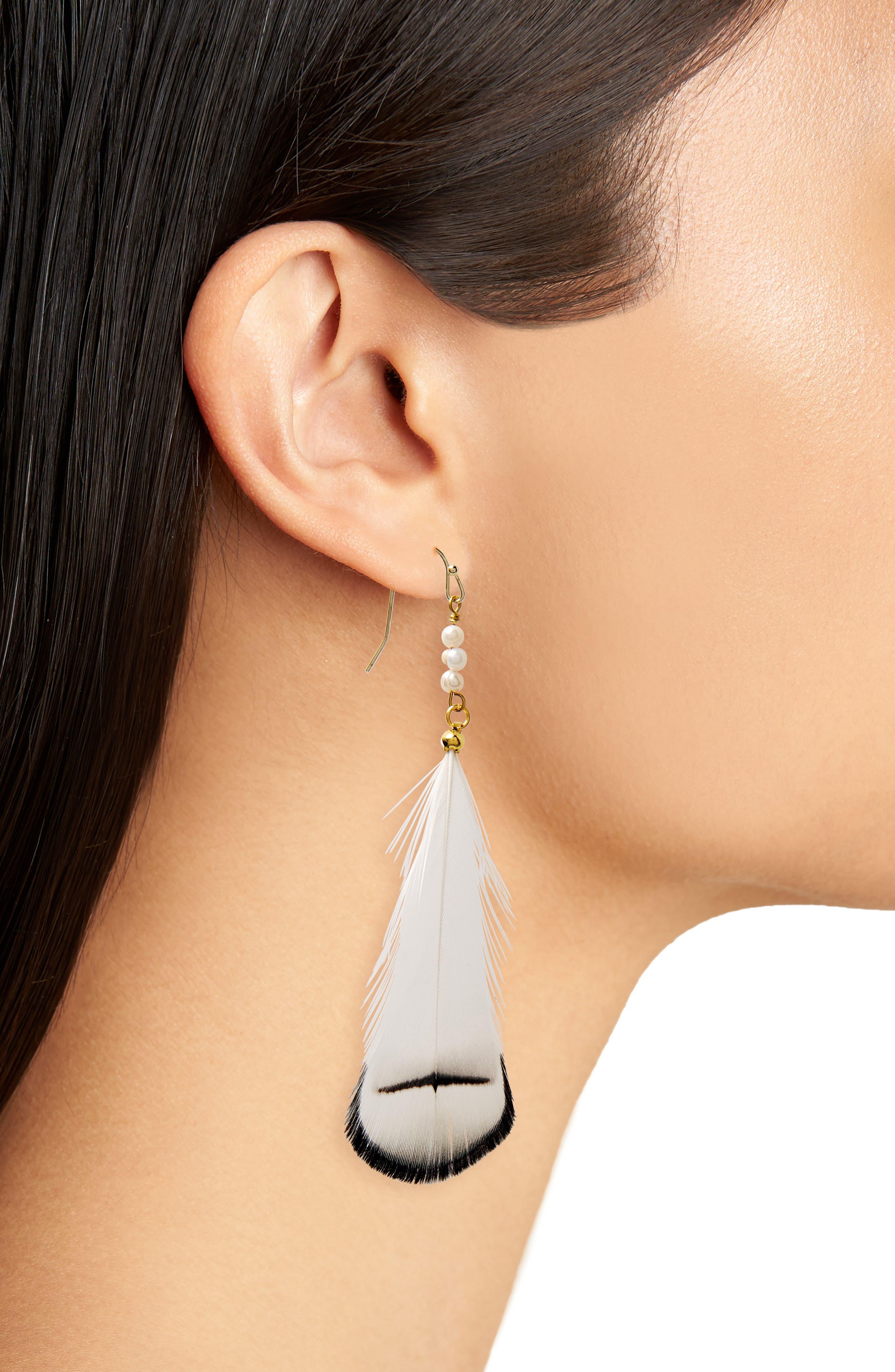 Feather & Pearl Earrings,                             Alternate thumbnail 2, color,                             White/ Multi