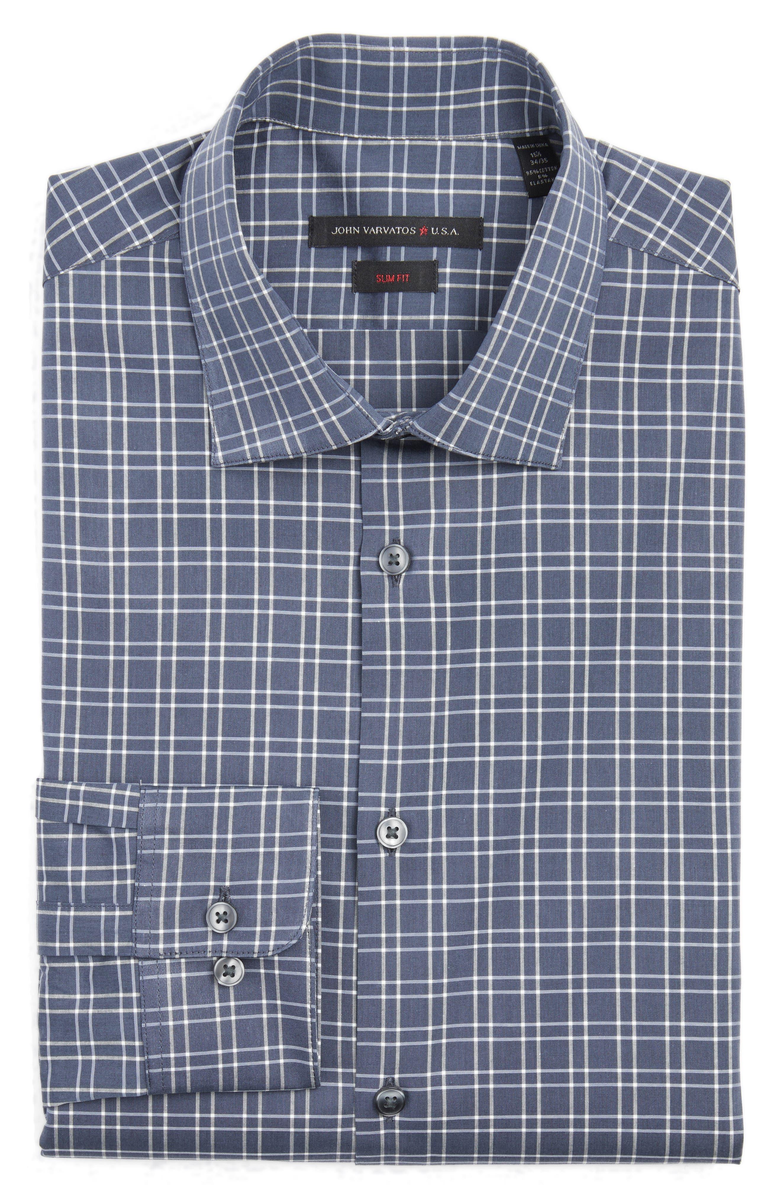 Slim Fit Stretch Plaid Dress Shirt,                         Main,                         color, Thunder Grey