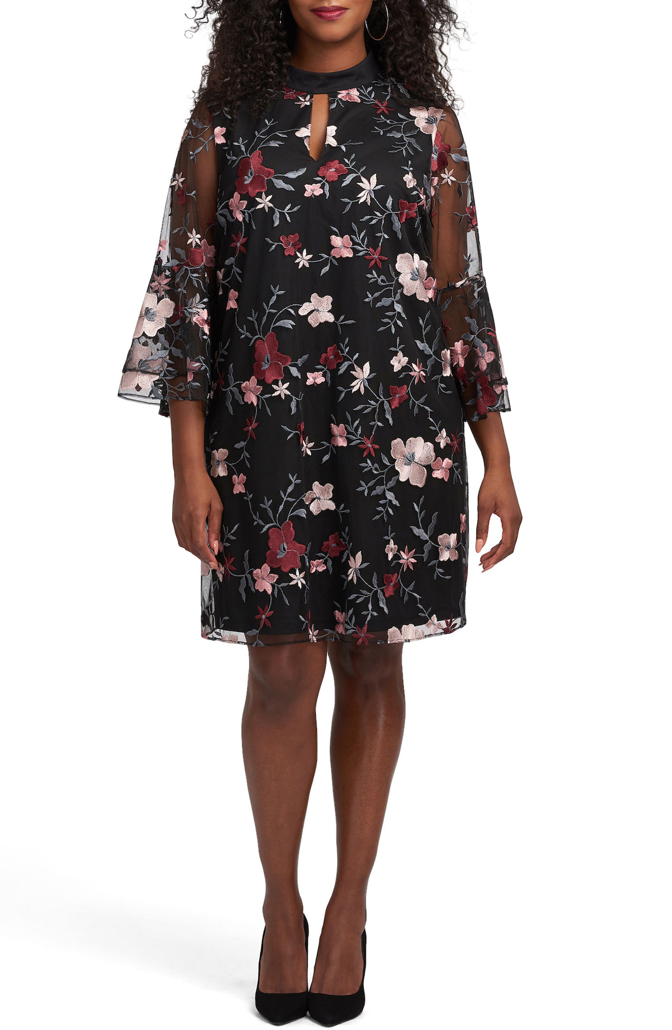 Floral Embroidered Mesh A-Line Dress,                         Main,                         color, Black/ Blush