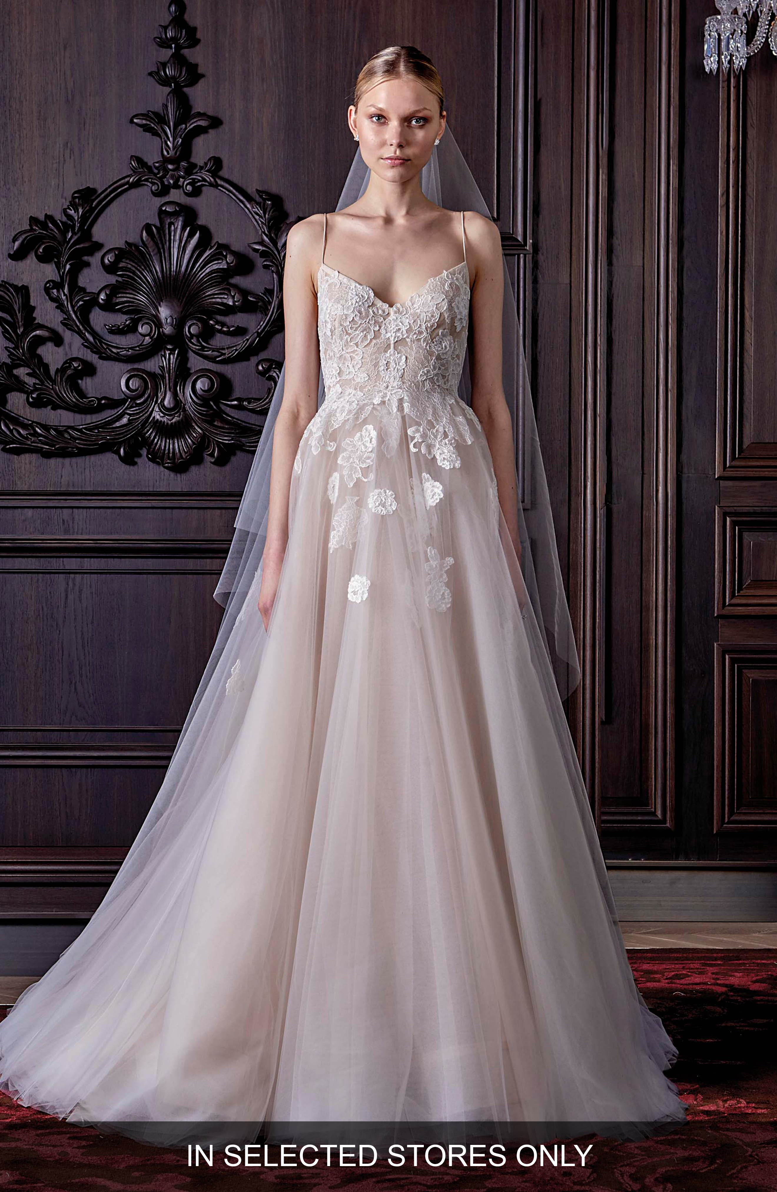Severine Chantilly Lace & Tulle Gown,                         Main,                         color, Silk White/ Nude