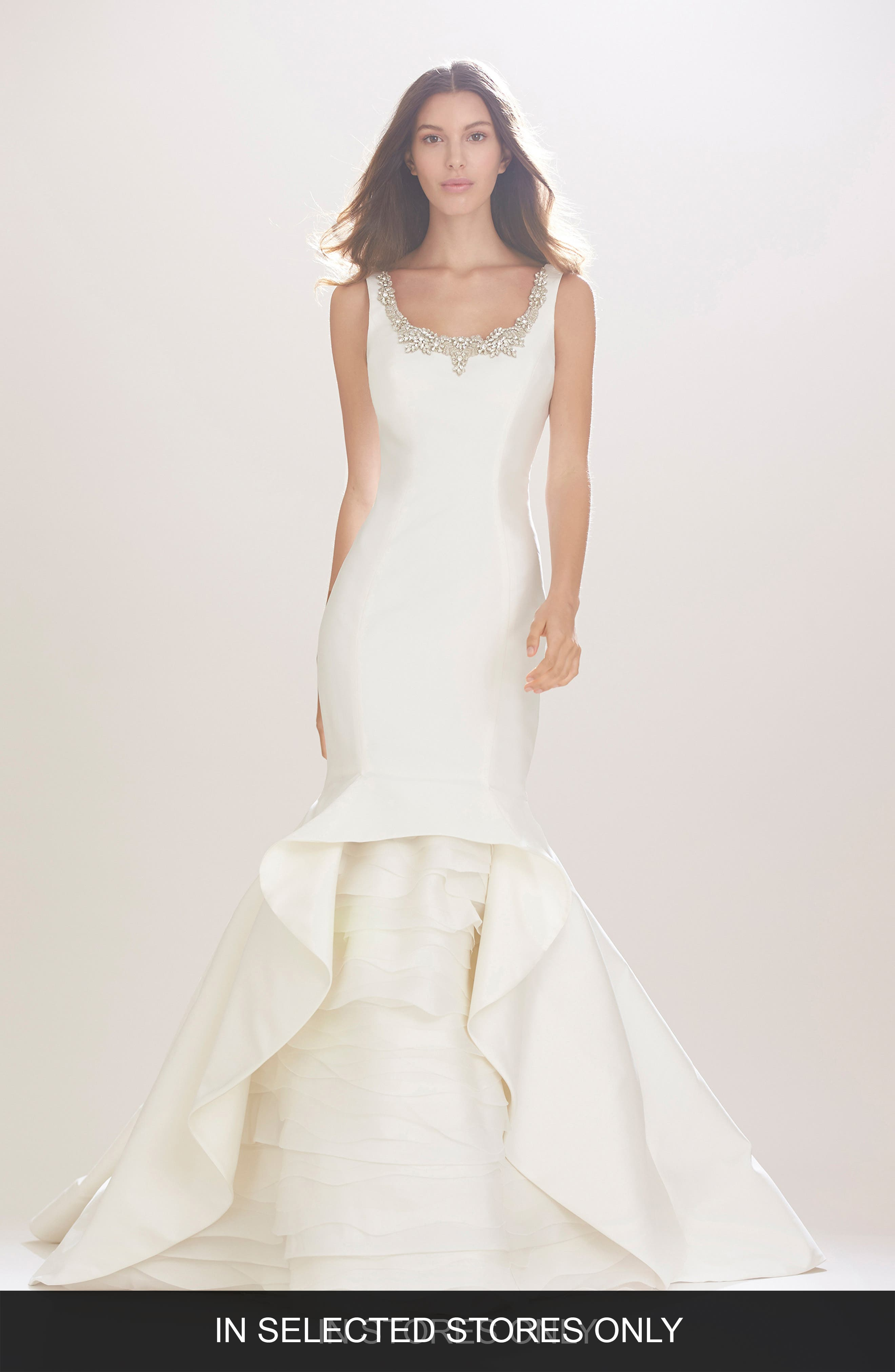 Madison Embroidered Scoop Neck Silk Mikado Trumpet Gown with Tiered Organza Underlay,                             Main thumbnail 1, color,                             Ivory