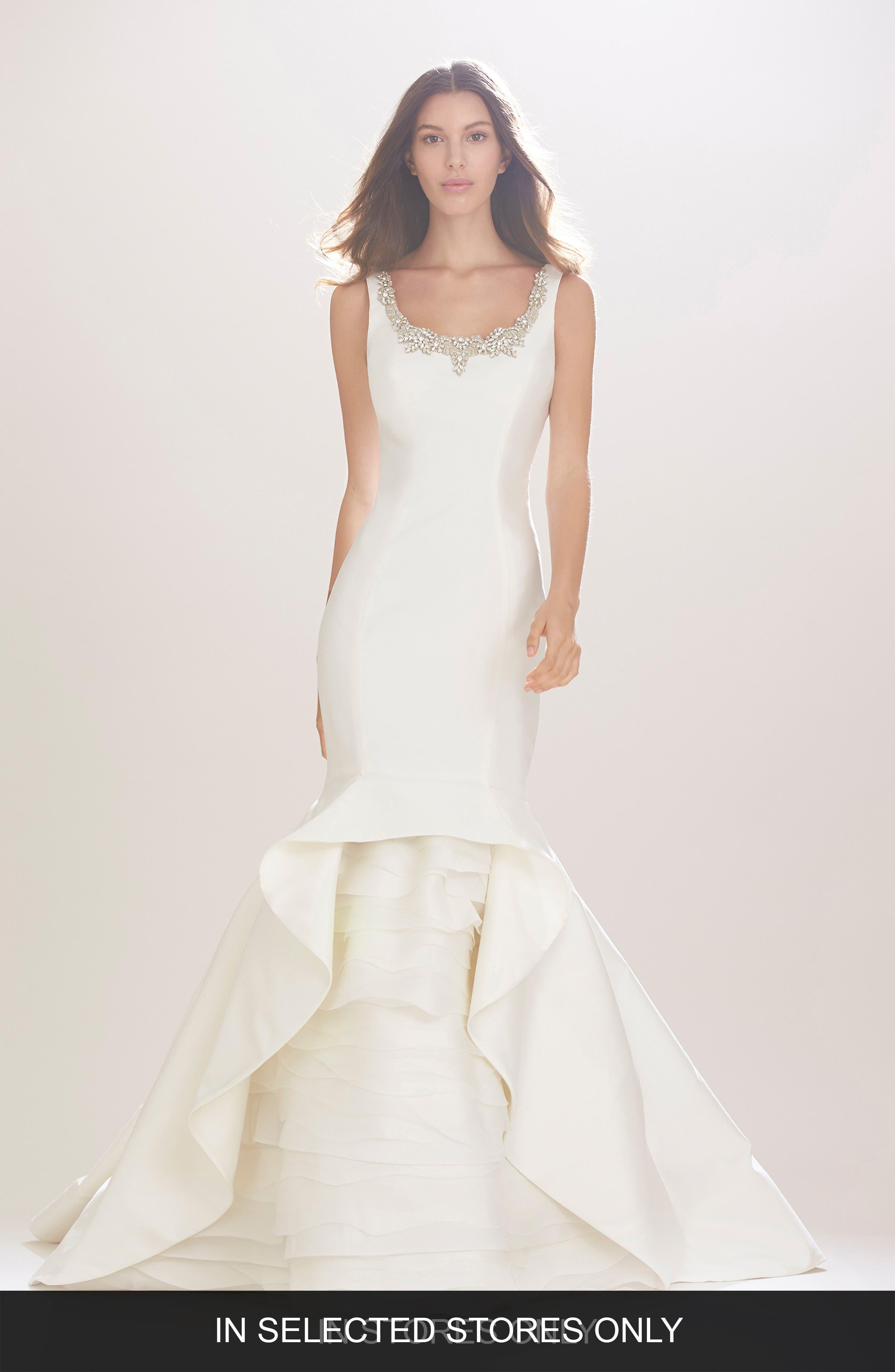 Carolina Herrera Madison Embroidered Scoop Neck Silk Mikado Trumpet Gown with Tiered Organza Underlay