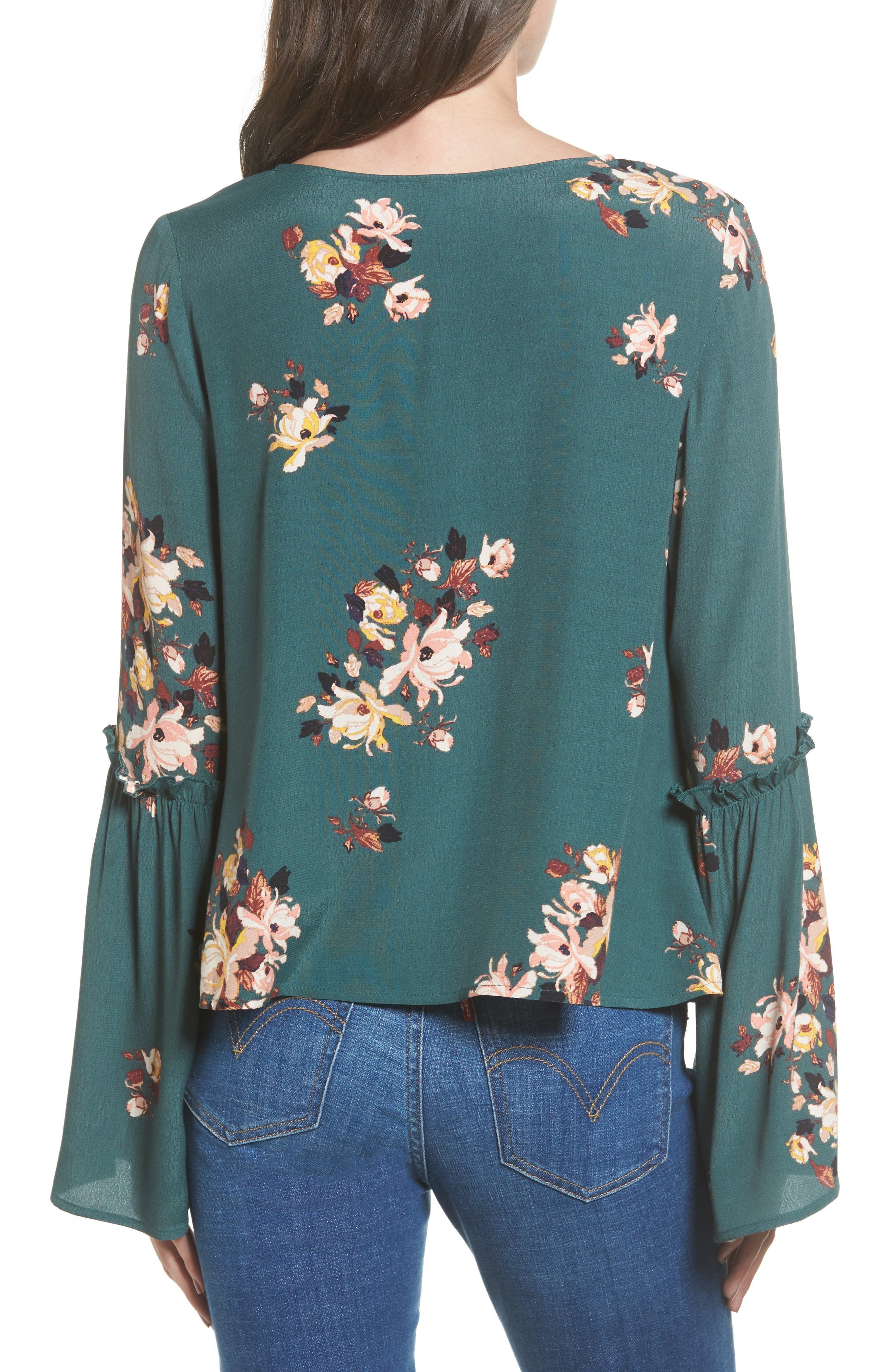 Bell Sleeve Blouse,                             Alternate thumbnail 2, color,                             Green Jungle Floral Bouquet