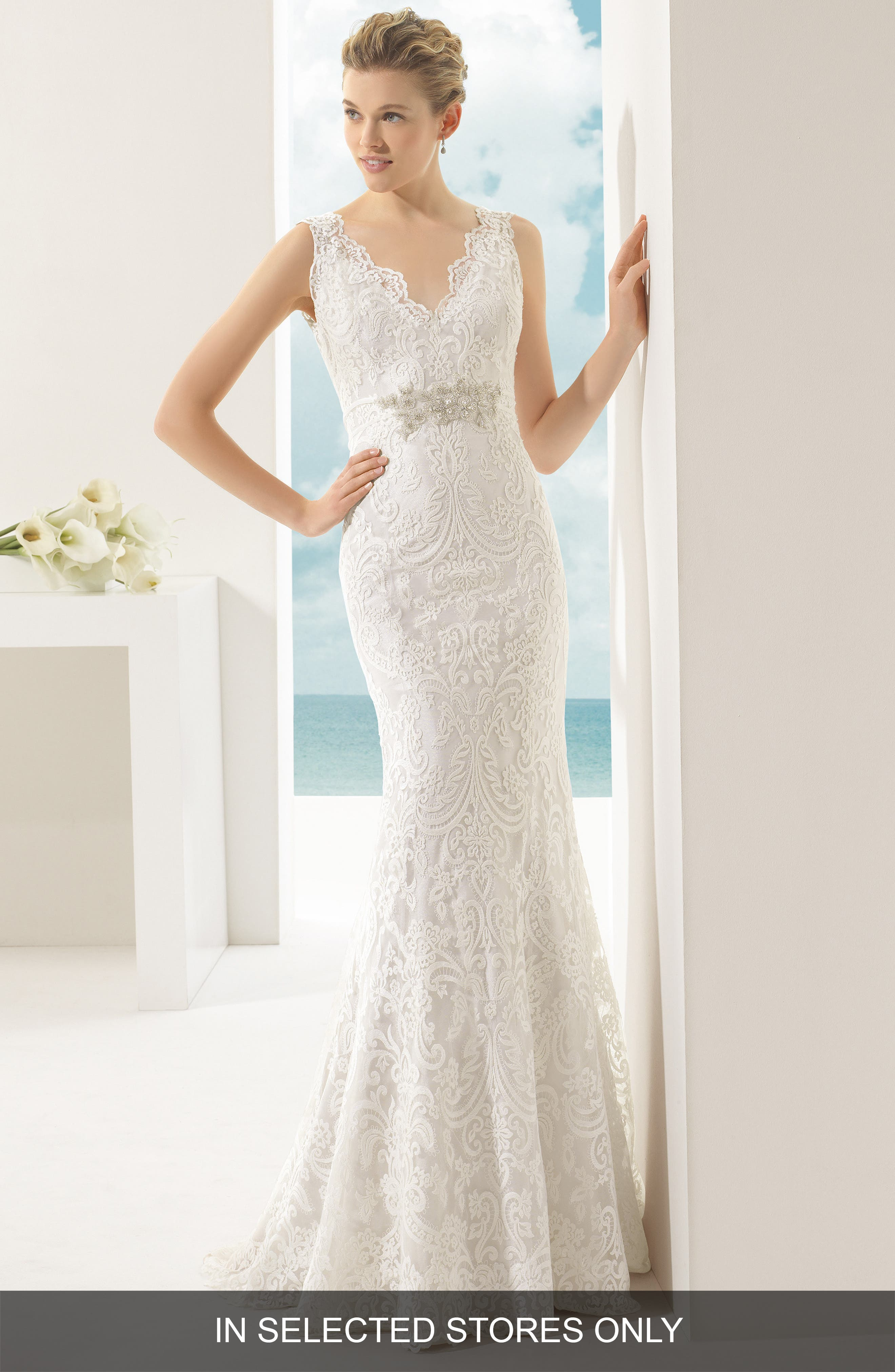 Vigo Beaded V-Neck Lace Overlay Mermaid Dress,                         Main,                         color, Ivory