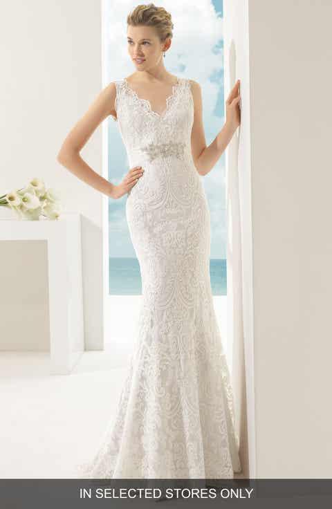Rosa Clara Soft Vigo Beaded V Neck Lace Overlay Mermaid Dress
