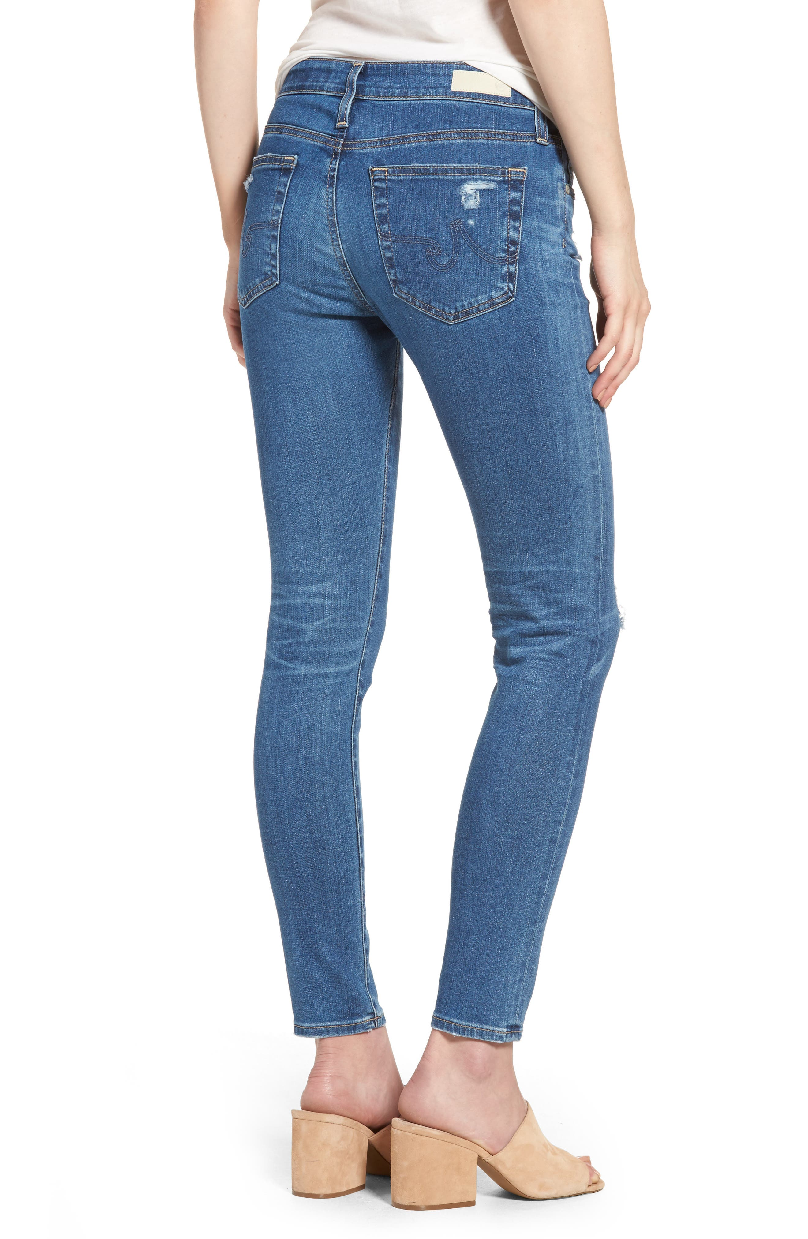The Farrah High Waist Ankle Skinny Jeans,                             Alternate thumbnail 2, color,                             14 Year Blue Nile Destructed