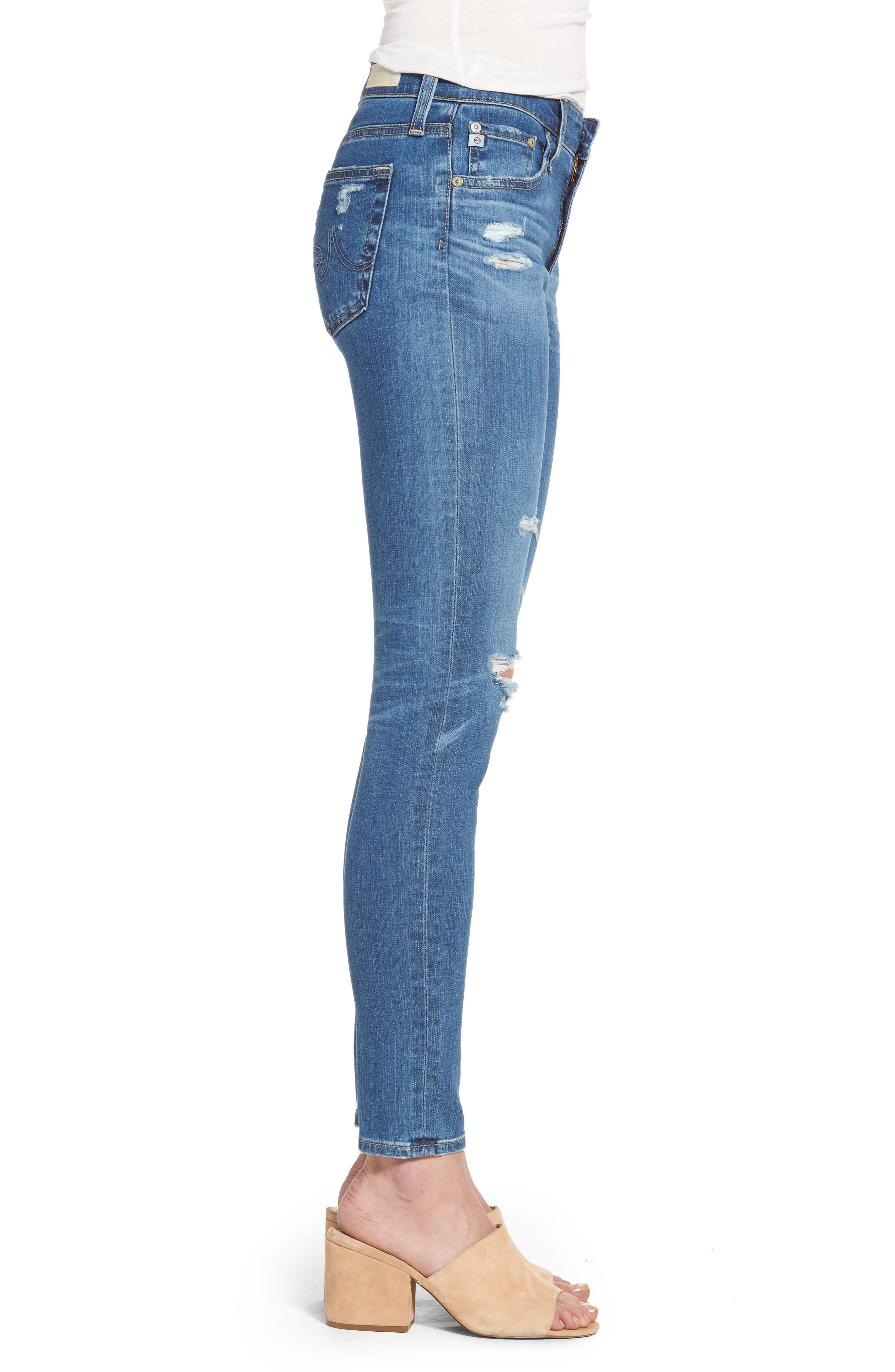 The Farrah High Waist Ankle Skinny Jeans,                             Alternate thumbnail 3, color,                             14 Year Blue Nile Destructed