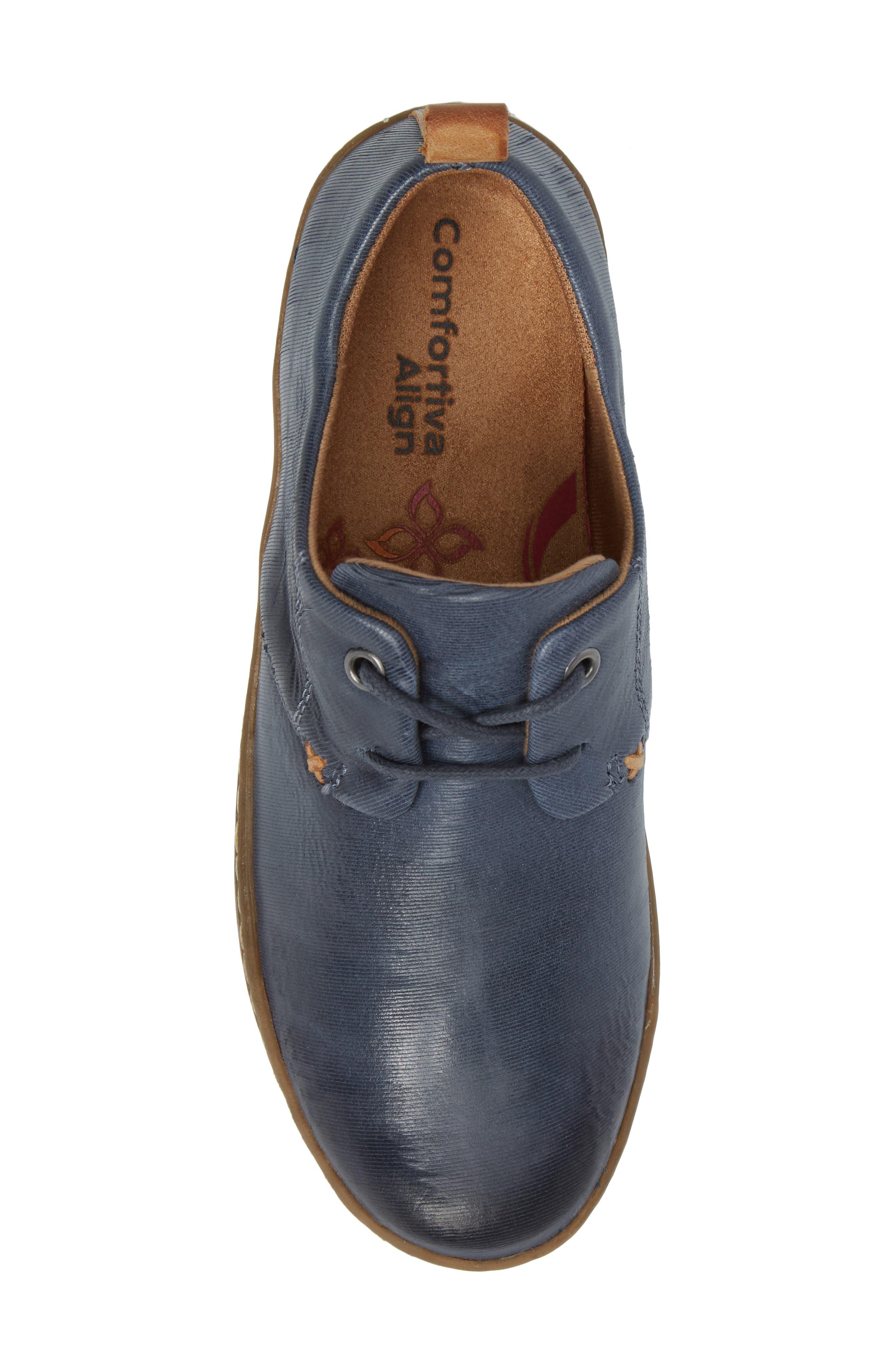 Cassandra Siped Sneaker,                             Alternate thumbnail 4, color,                             Denim Blue Leather