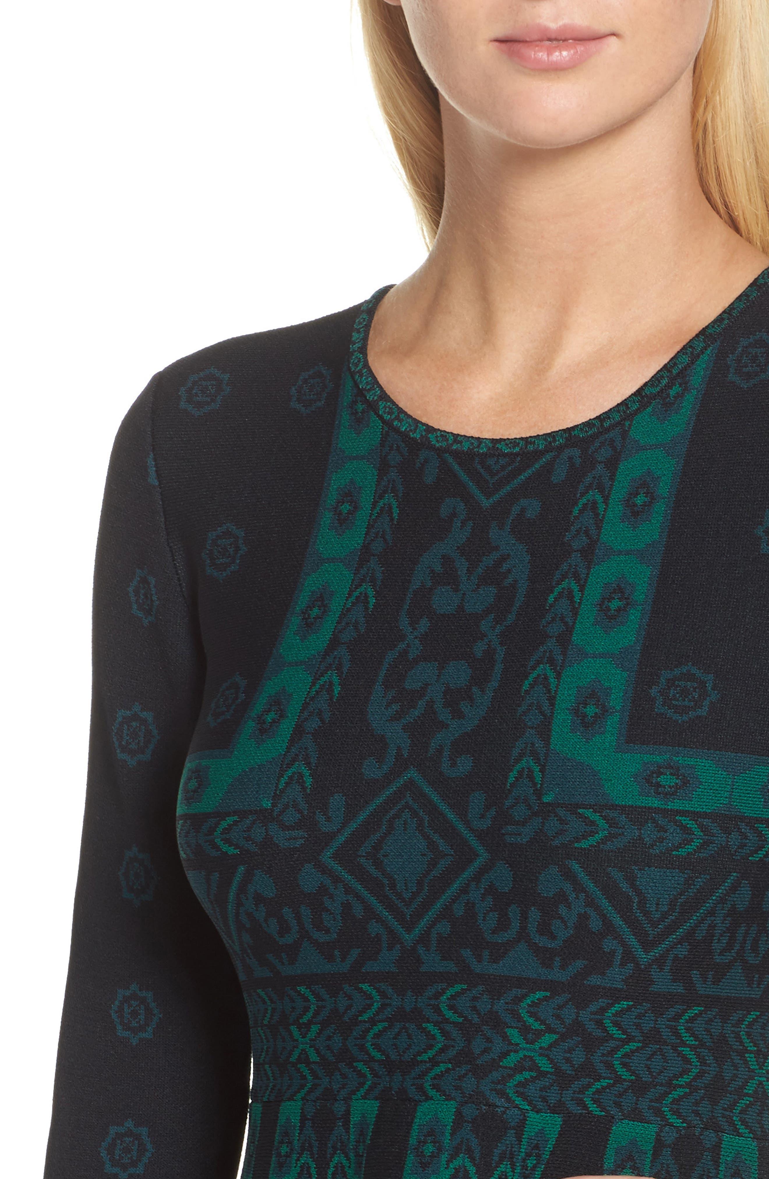 Pattern Double-Knit Fit & Flare Dress,                             Alternate thumbnail 4, color,                             Multi