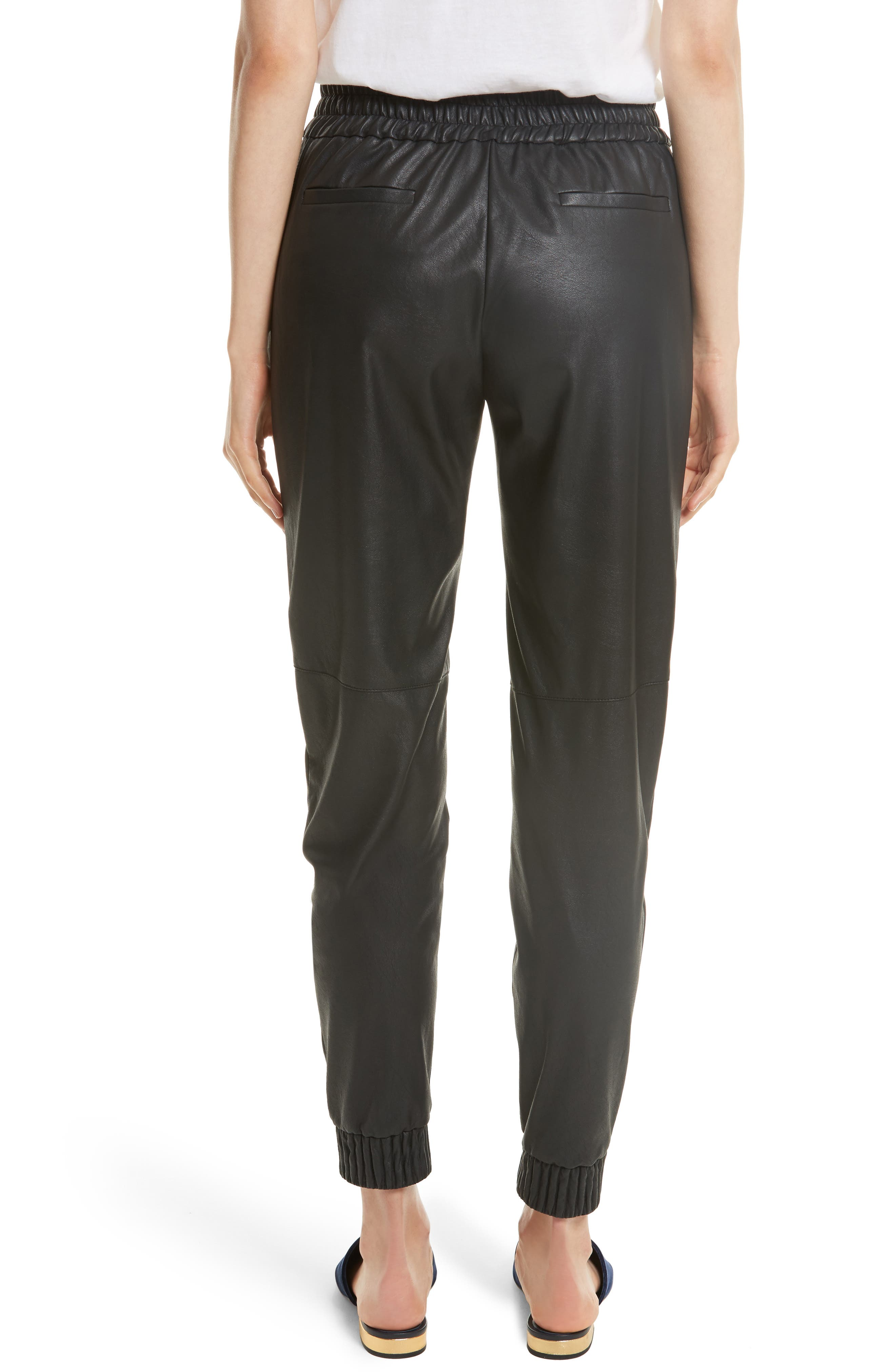 Alternate Image 2  - Rebecca Taylor Faux Leather Track Pants
