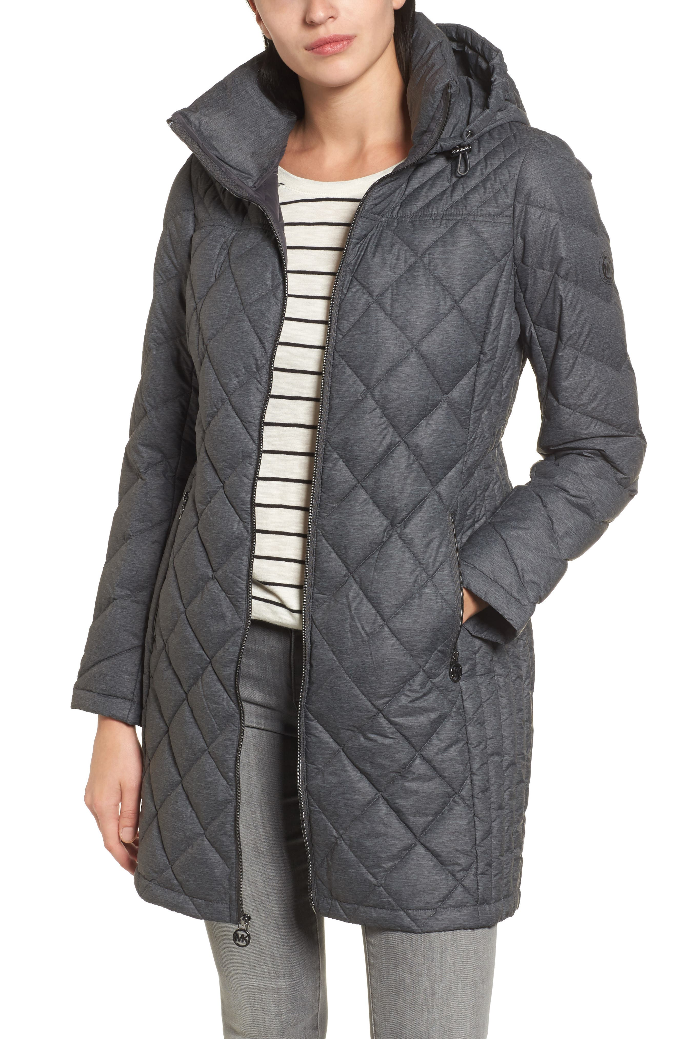 MICHAEL Michael Kors Logo Packable Puffer Coat with Detachable Hood (Regular & Petite)