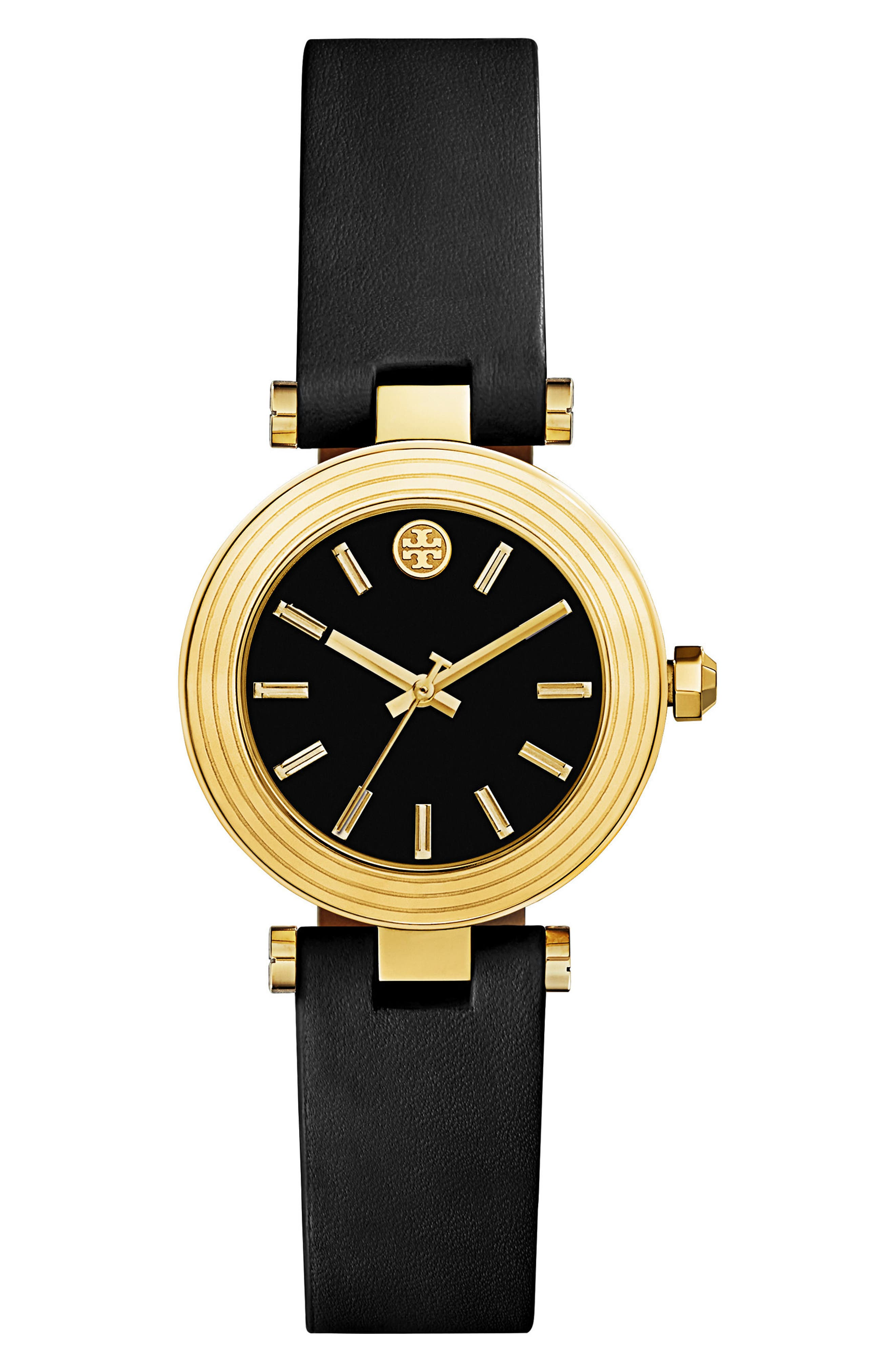 Main Image - Tory Burch Classic-T Leather Strap Watch, 30mm