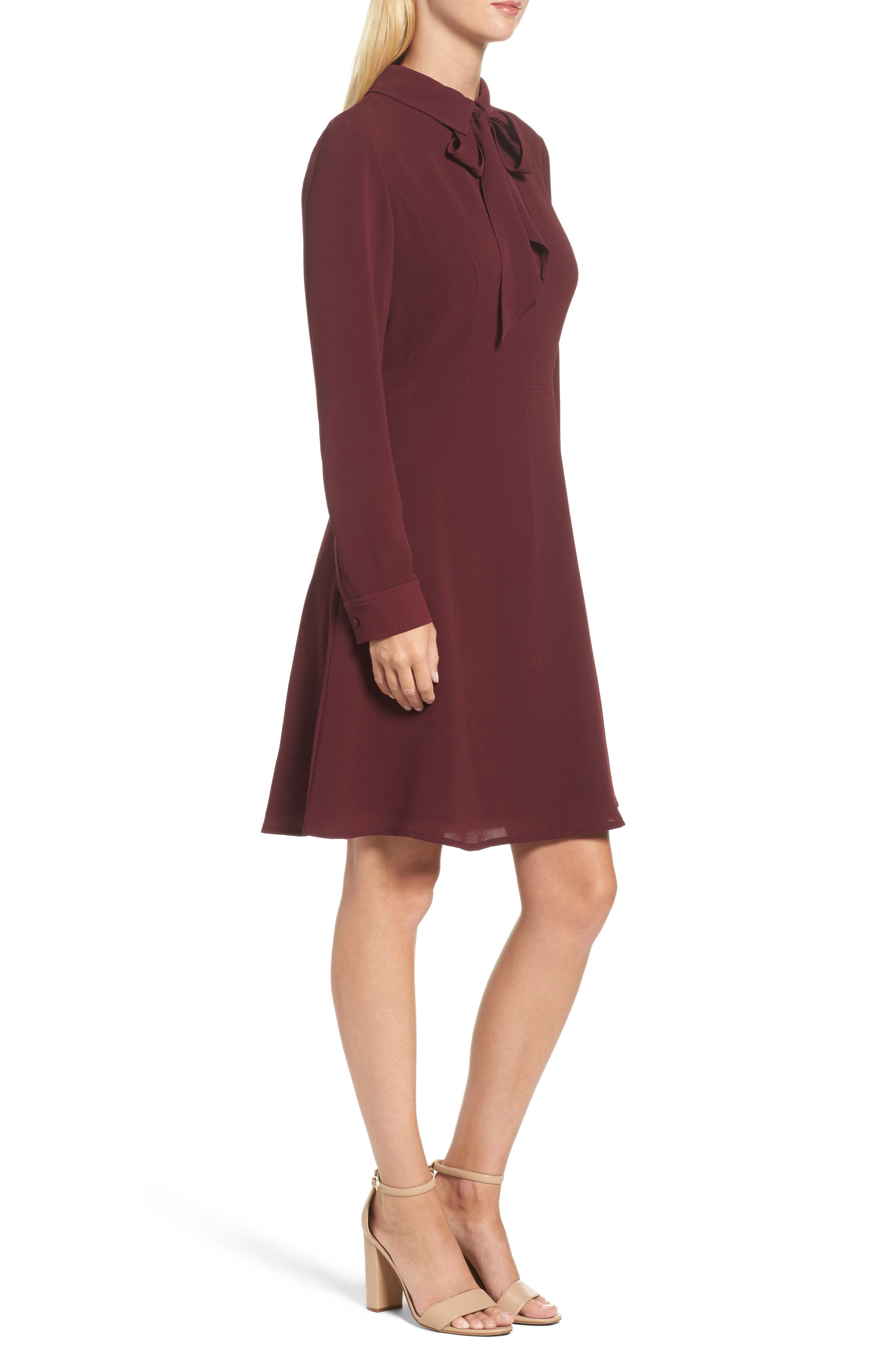 Crepe Bow Fit & Flare Dress,                             Alternate thumbnail 3, color,                             Wine