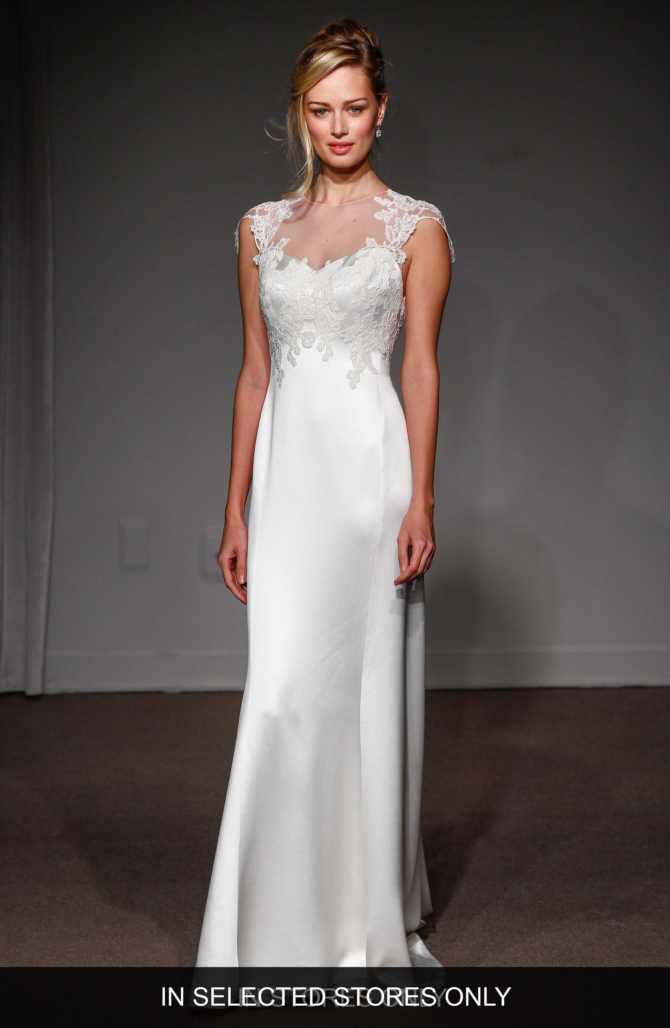 Alternate Image 1 Selected - Anna Maier Couture Grace Illusion Neck Lace & Satin A-Line Gown