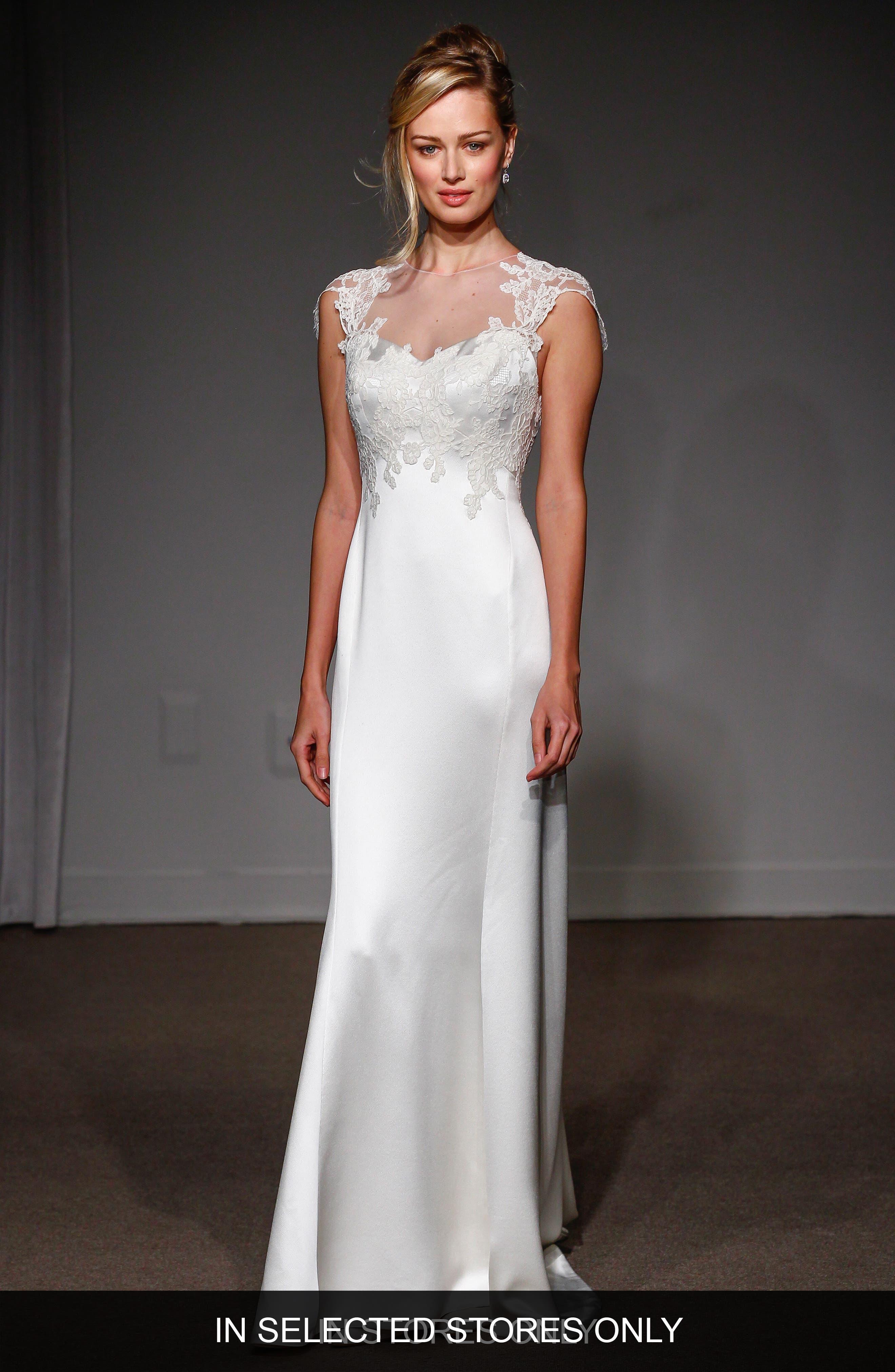 Grace Illusion Neck Lace & Satin A-Line Gown,                         Main,                         color, Soft White