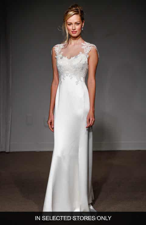 Anna Maier Couture Grace Illusion Neck Lace Satin A Line Gown
