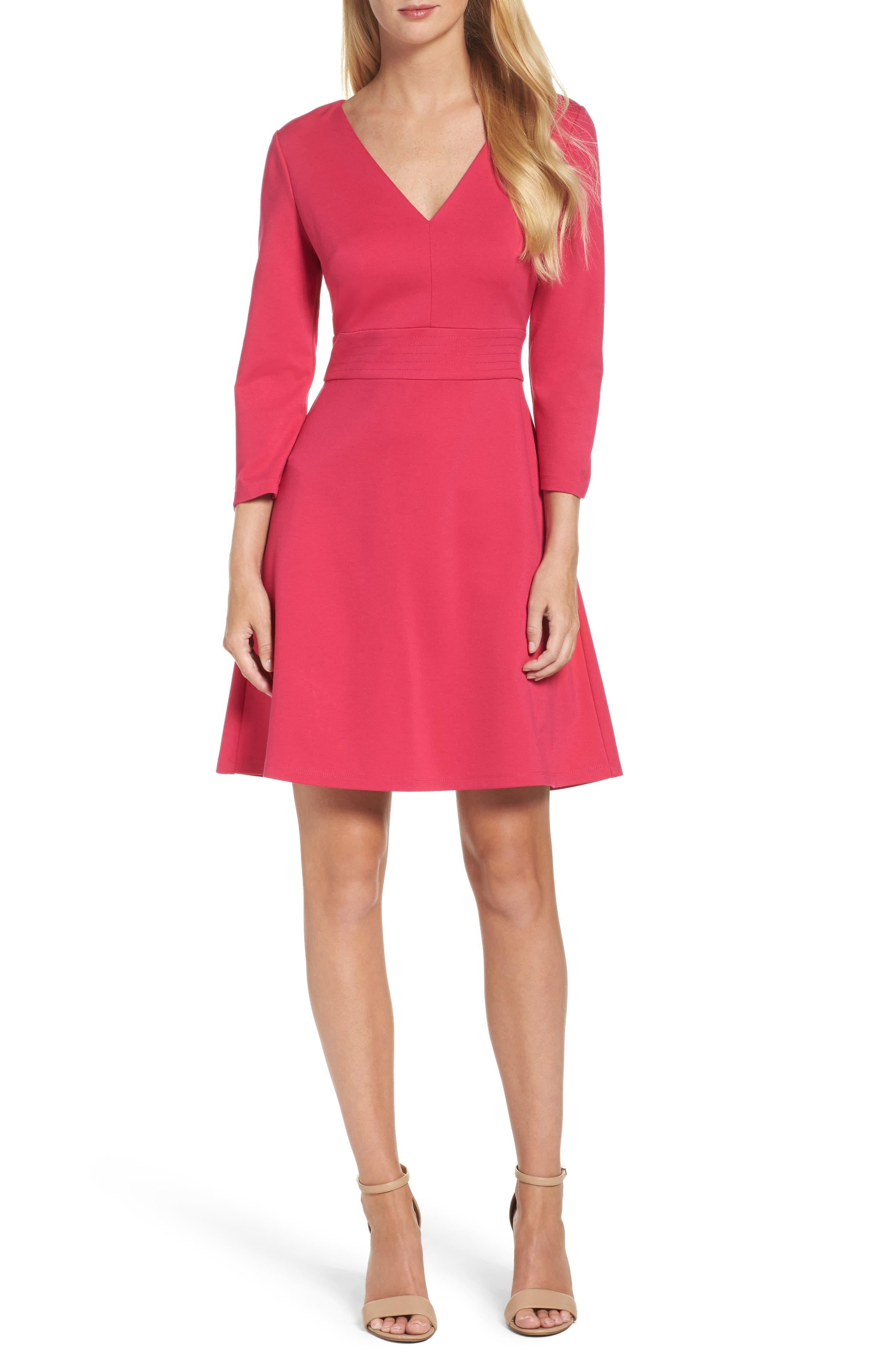 Fit & Flare Dress,                             Main thumbnail 1, color,                             Pink