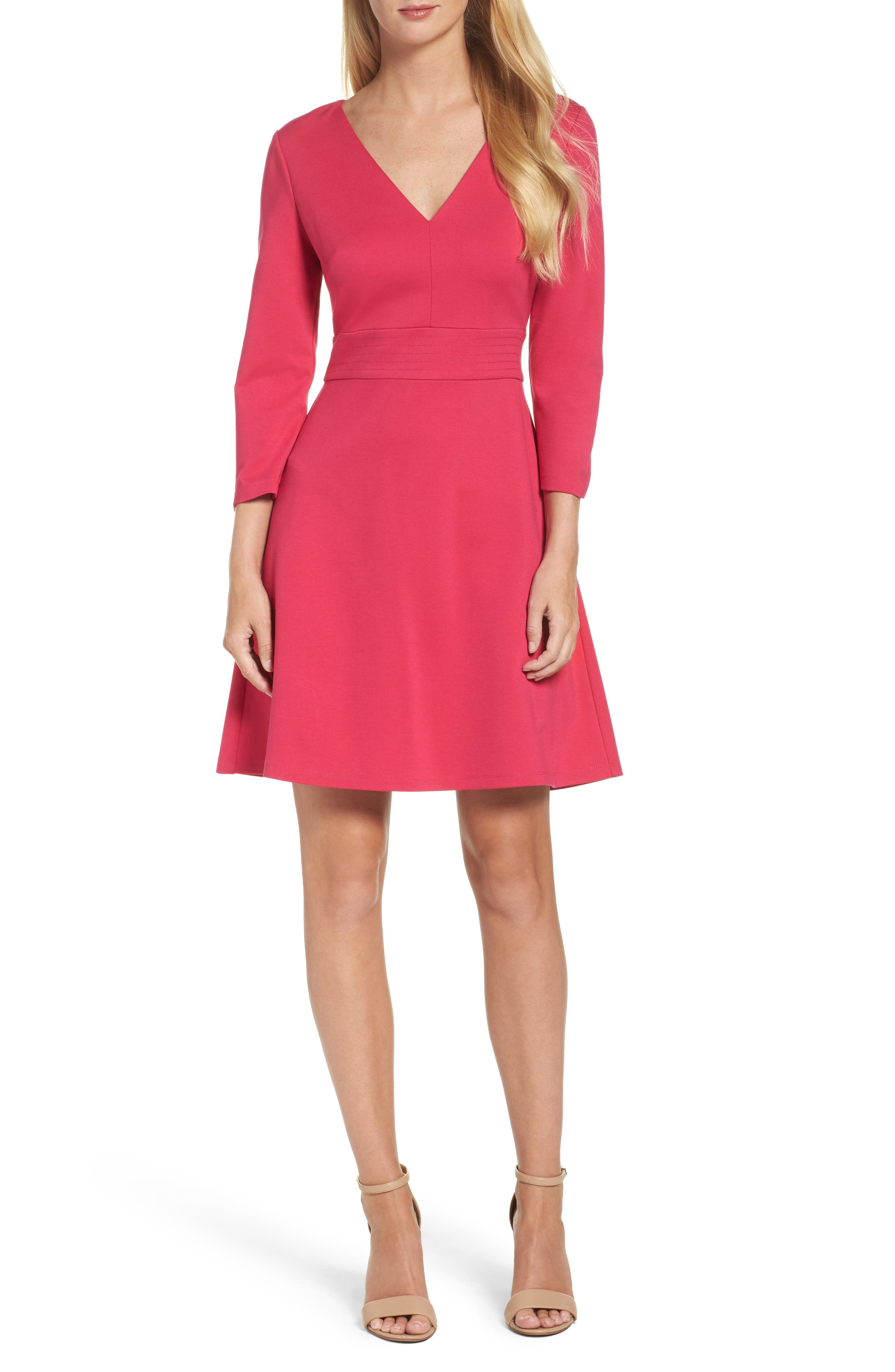 Fit & Flare Dress,                         Main,                         color, Pink