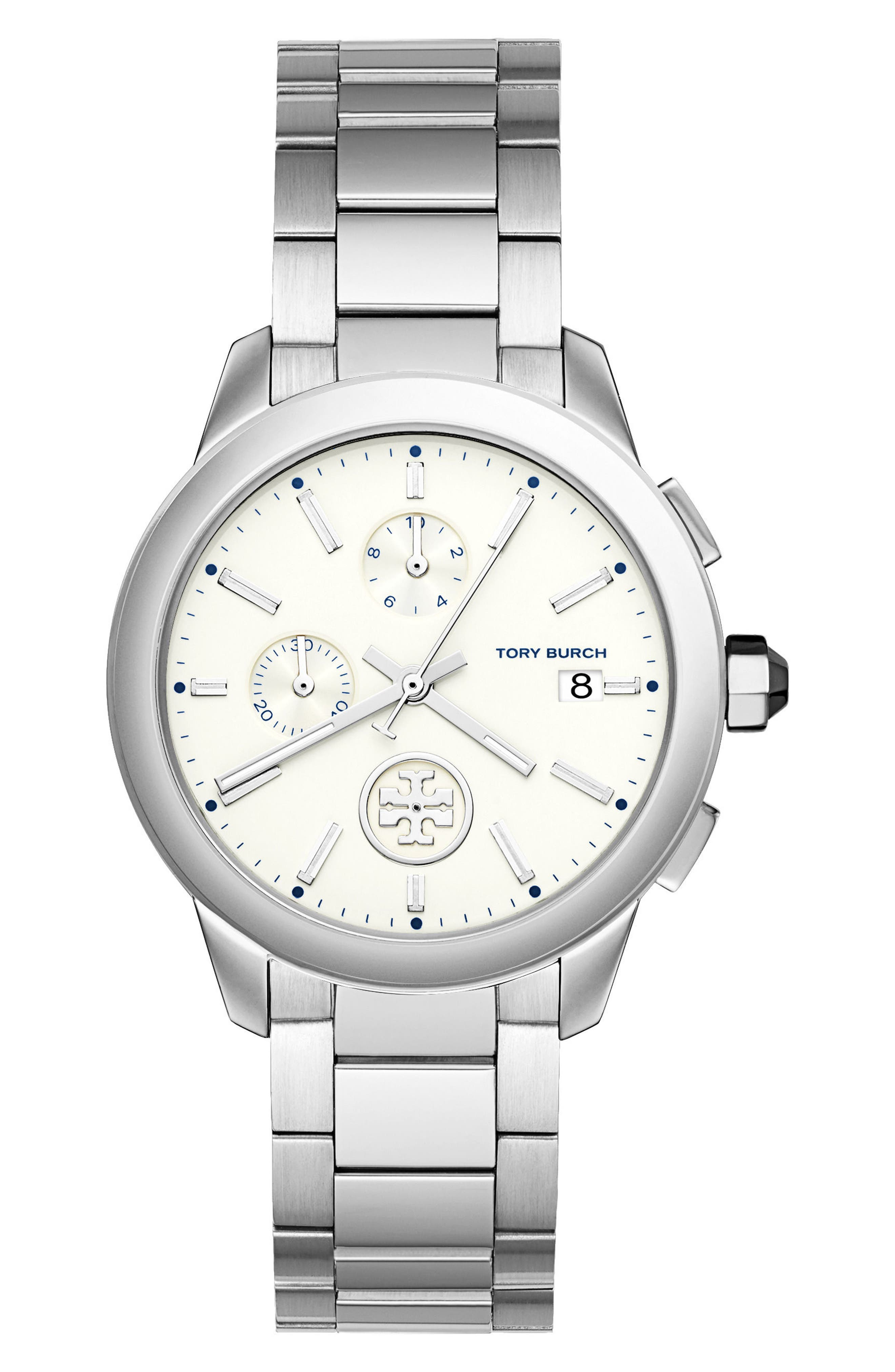 Collins Chronograph Bracelet Watch, 38mm,                         Main,                         color, Silver/ Ivory/ Silver