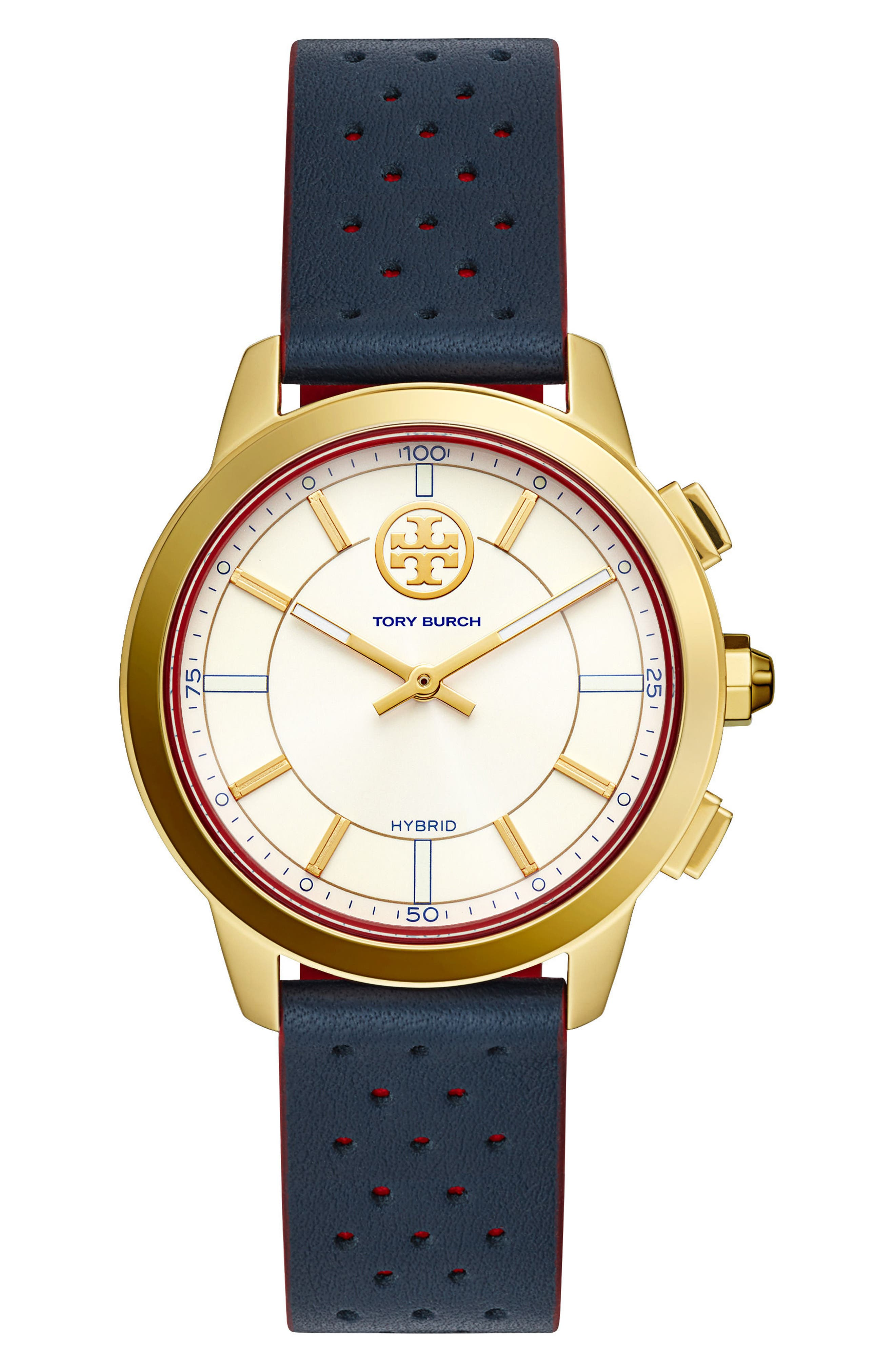 Collins Hybrid Leather Strap Watch, 38mm,                         Main,                         color, Navy/ Ivory/ Gold
