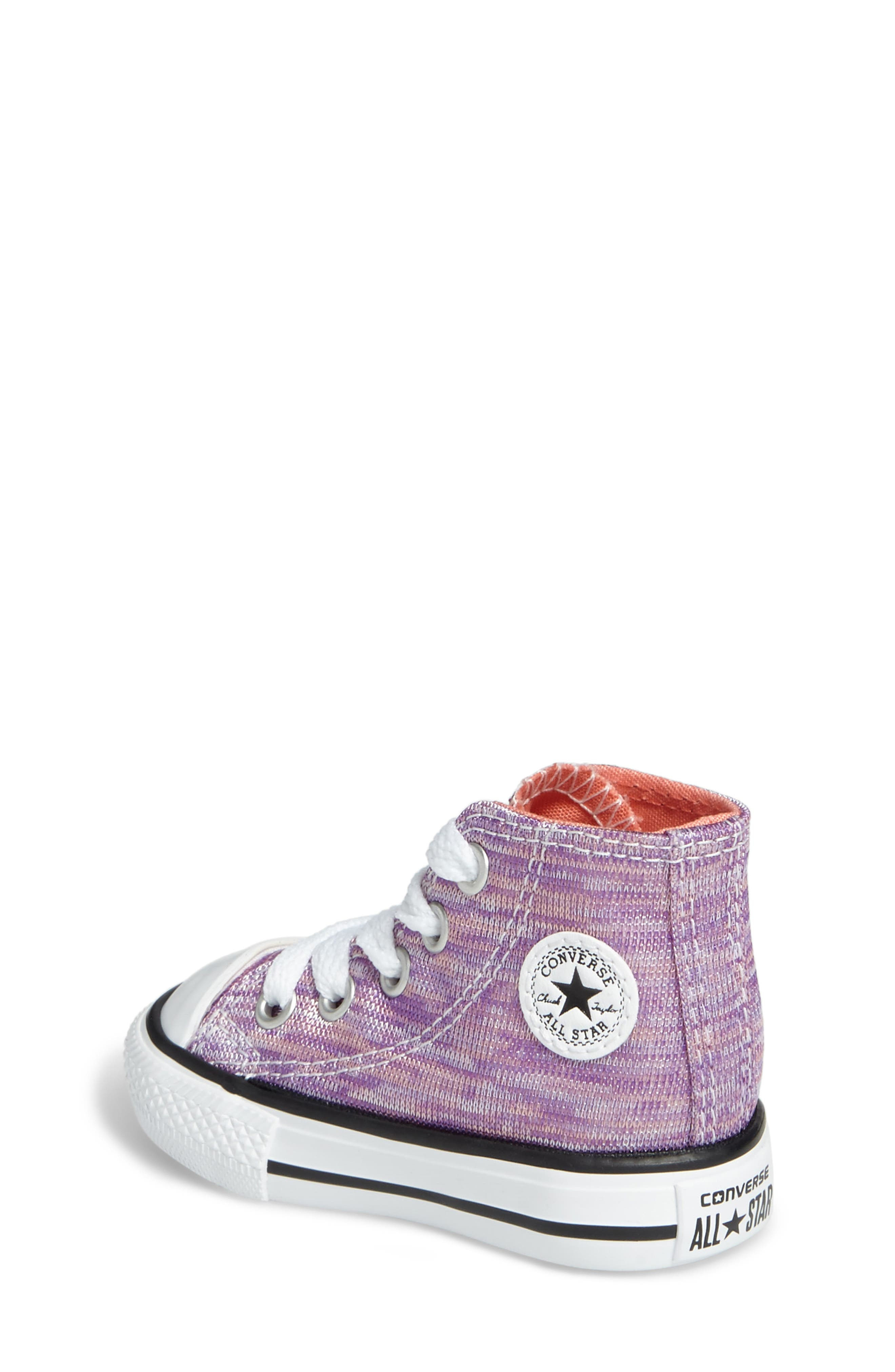 Chuck Taylor<sup>®</sup> All Star<sup>®</sup> Knit High Top Sneaker,                             Alternate thumbnail 2, color,                             Bright Violet Textile