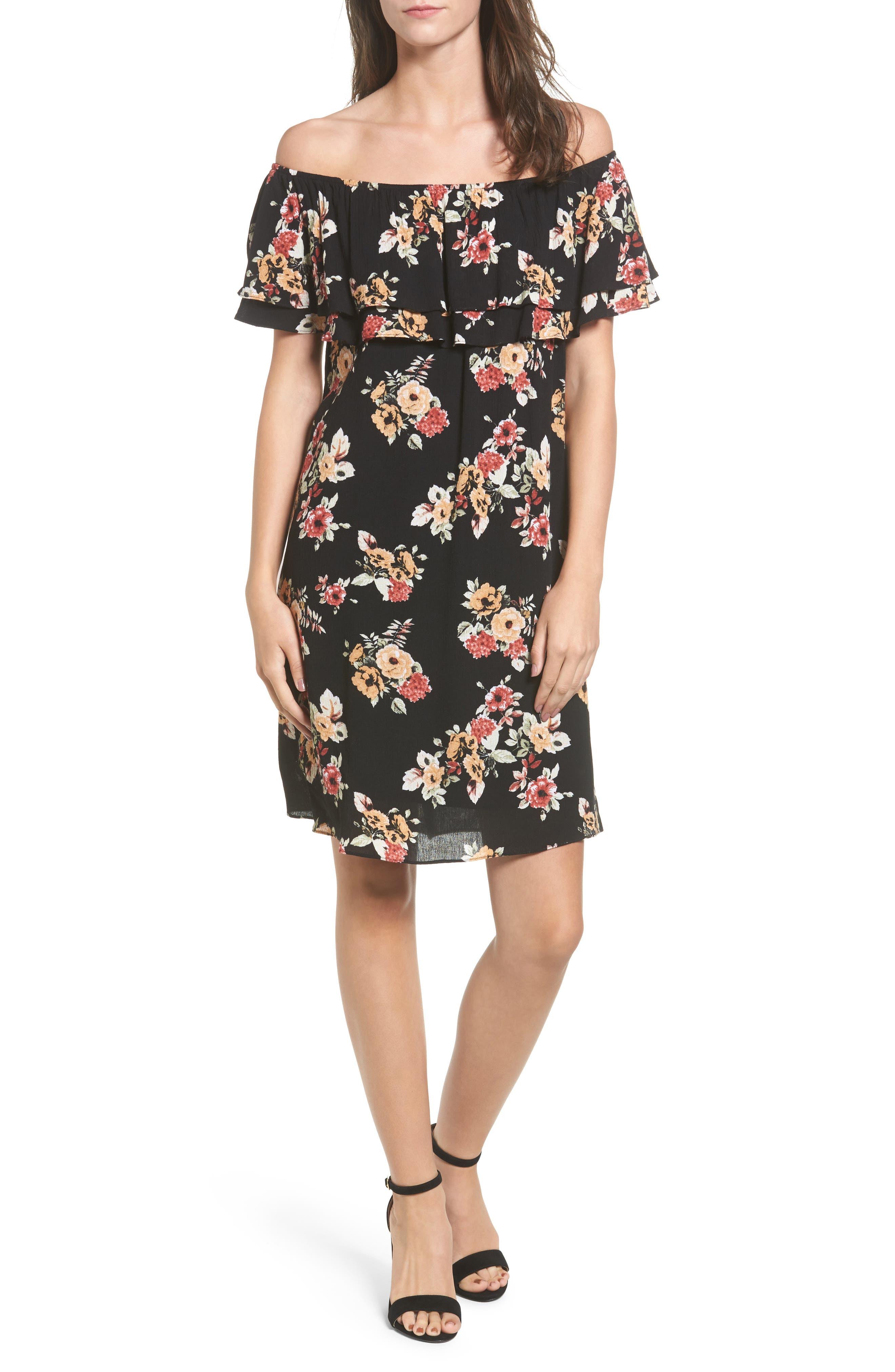 Ruffle Off the Shoulder Dress,                         Main,                         color, Black