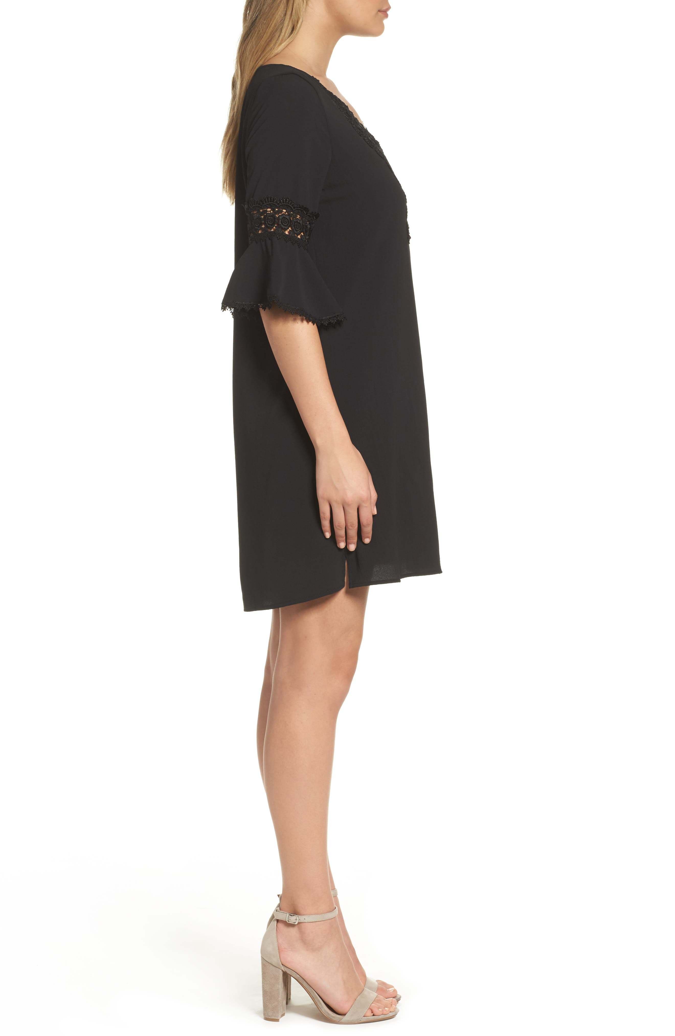Bell Sleeve Shift Dress,                             Alternate thumbnail 3, color,                             Black