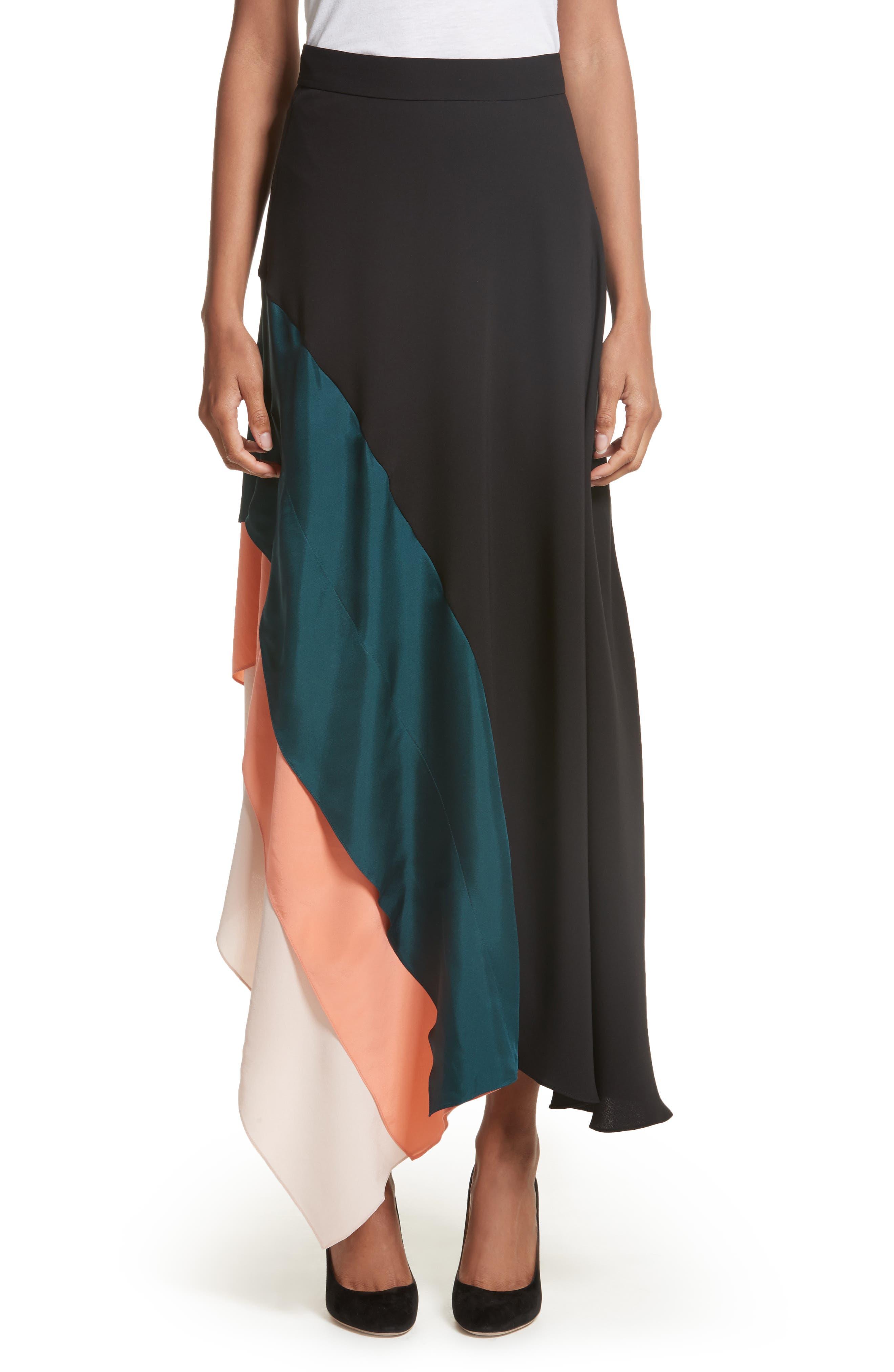 Delma Asymmetric Silk Skirt,                         Main,                         color, Black Peacock/ Apricot Blush