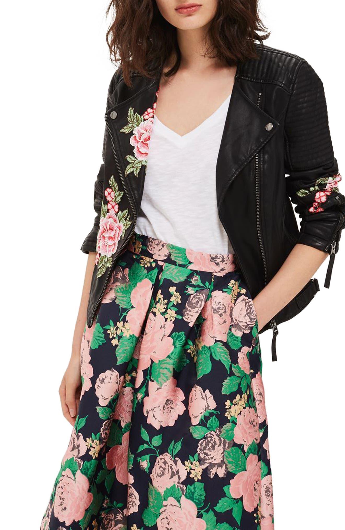 Main Image - Topshop Luna Floral Patch Faux Leather Biker Jacket