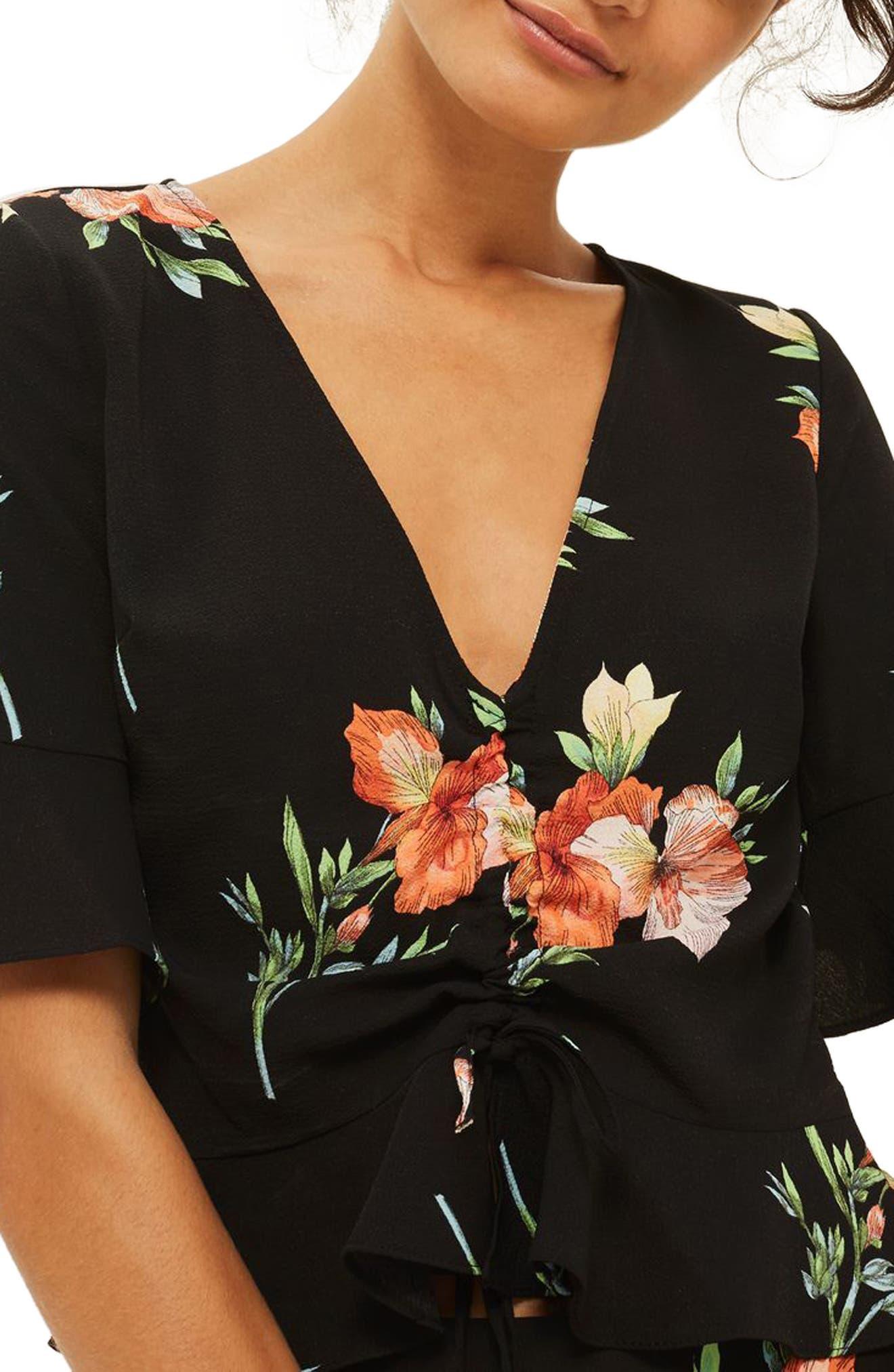 Main Image - Topshop Sunset Iris Ruched Blouse (Regular & Petite)