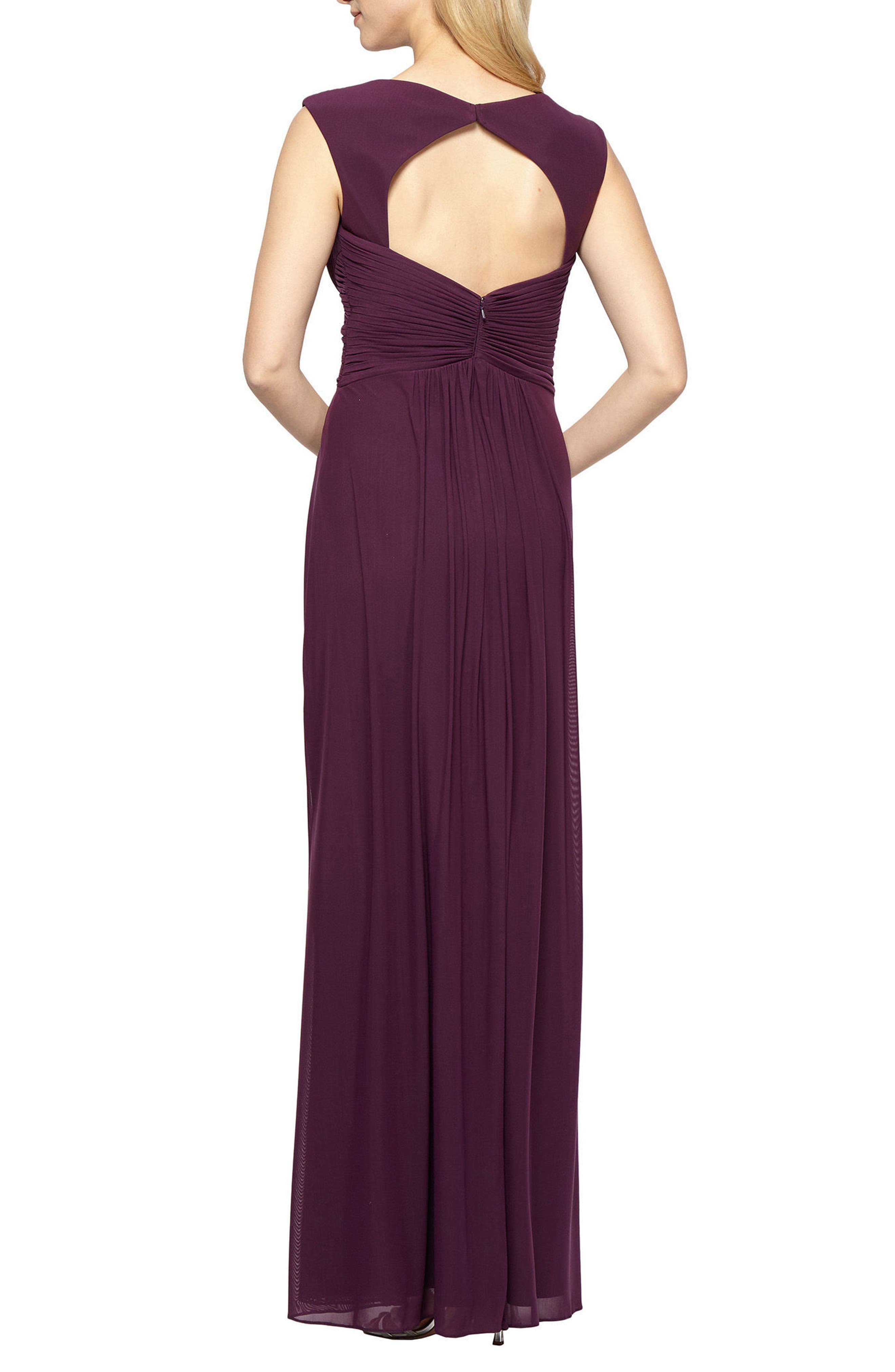 A-Line Gown,                             Alternate thumbnail 2, color,                             Plum