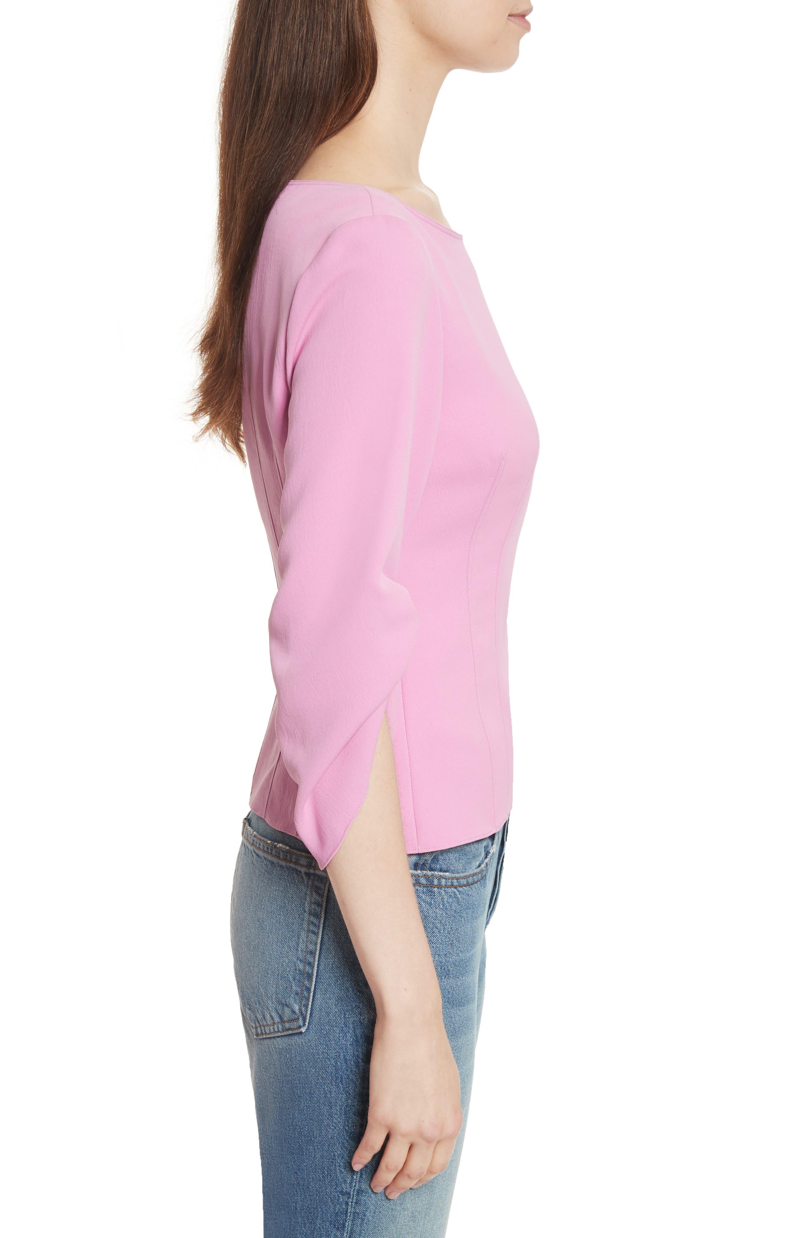 Draped Twill Corset Top,                             Alternate thumbnail 3, color,                             Pink