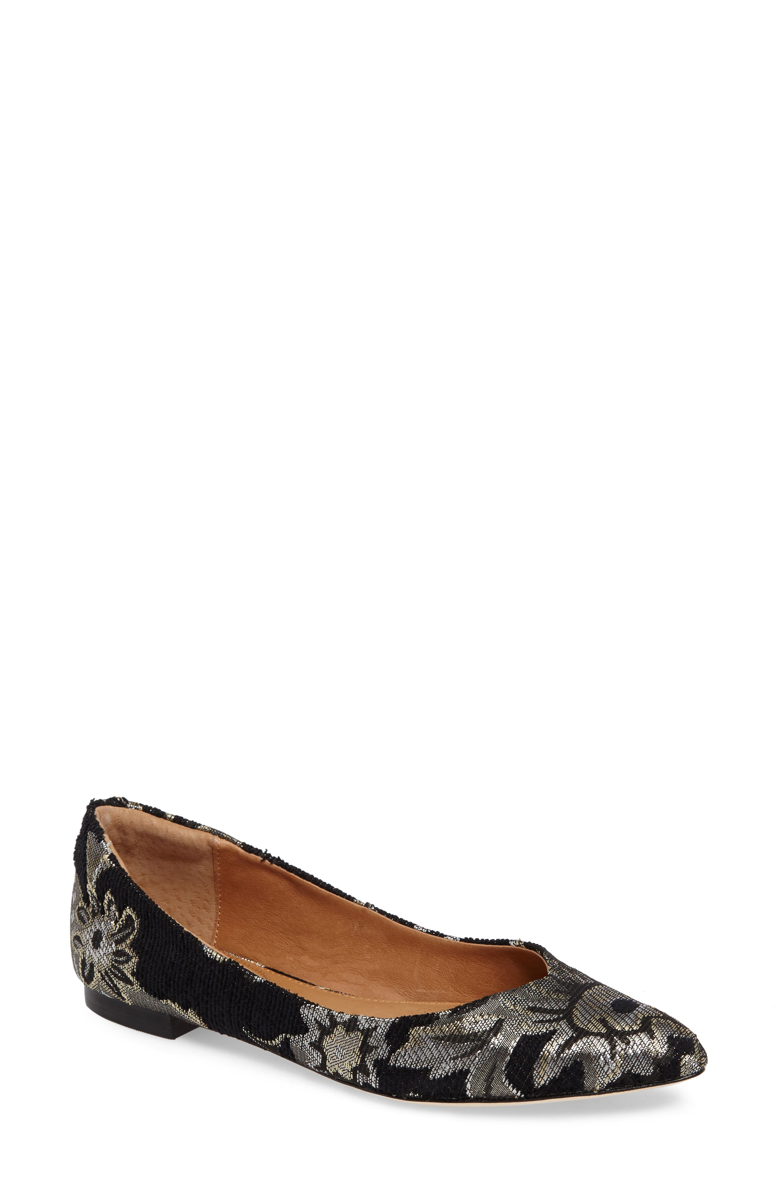 Julia Pointy Toe Flat,                             Main thumbnail 1, color,                             Black Brocade Leather