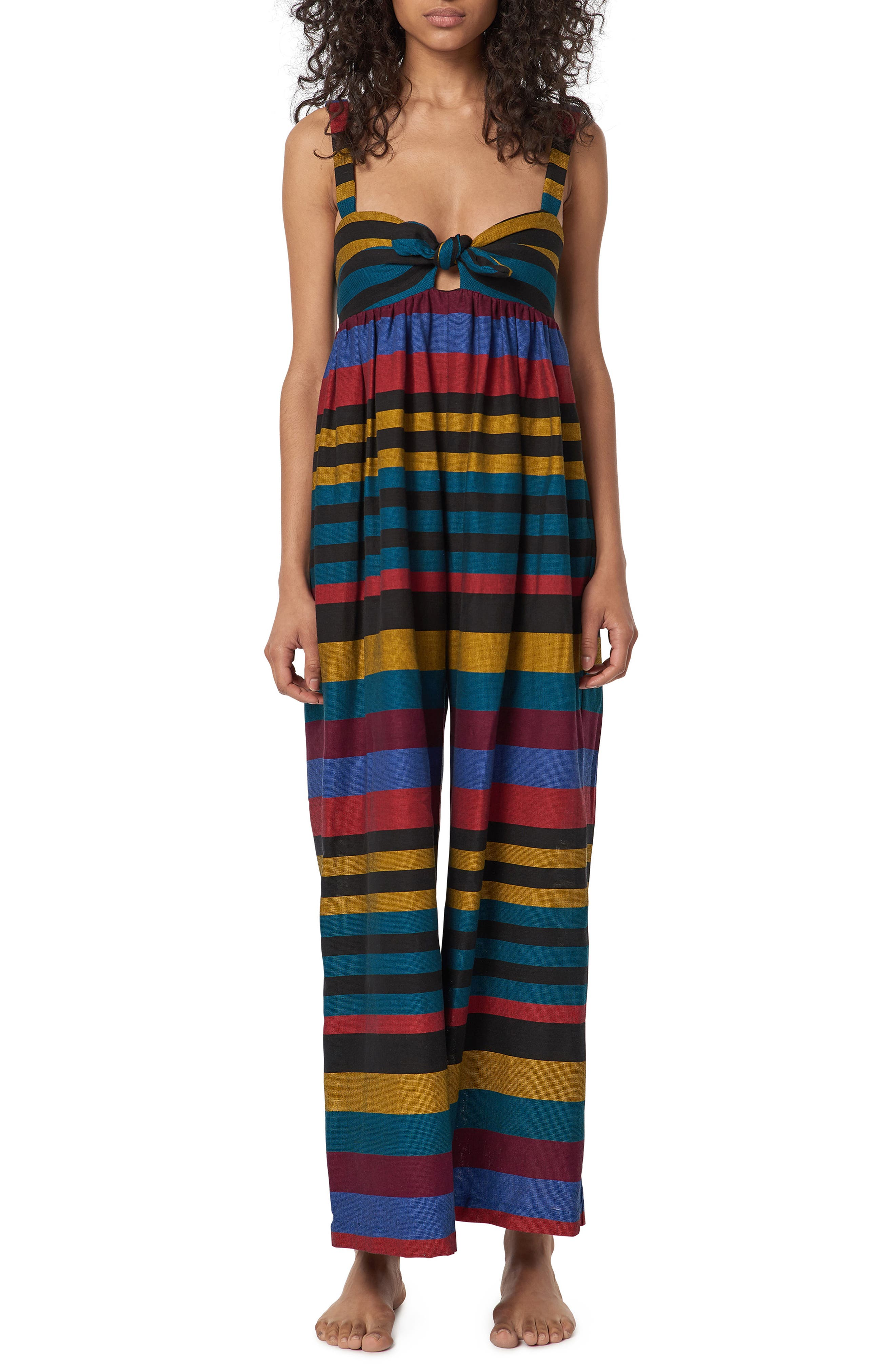 Isla Staccato Stripe Cover-Up Jumpsuit,                         Main,                         color, Red Multi