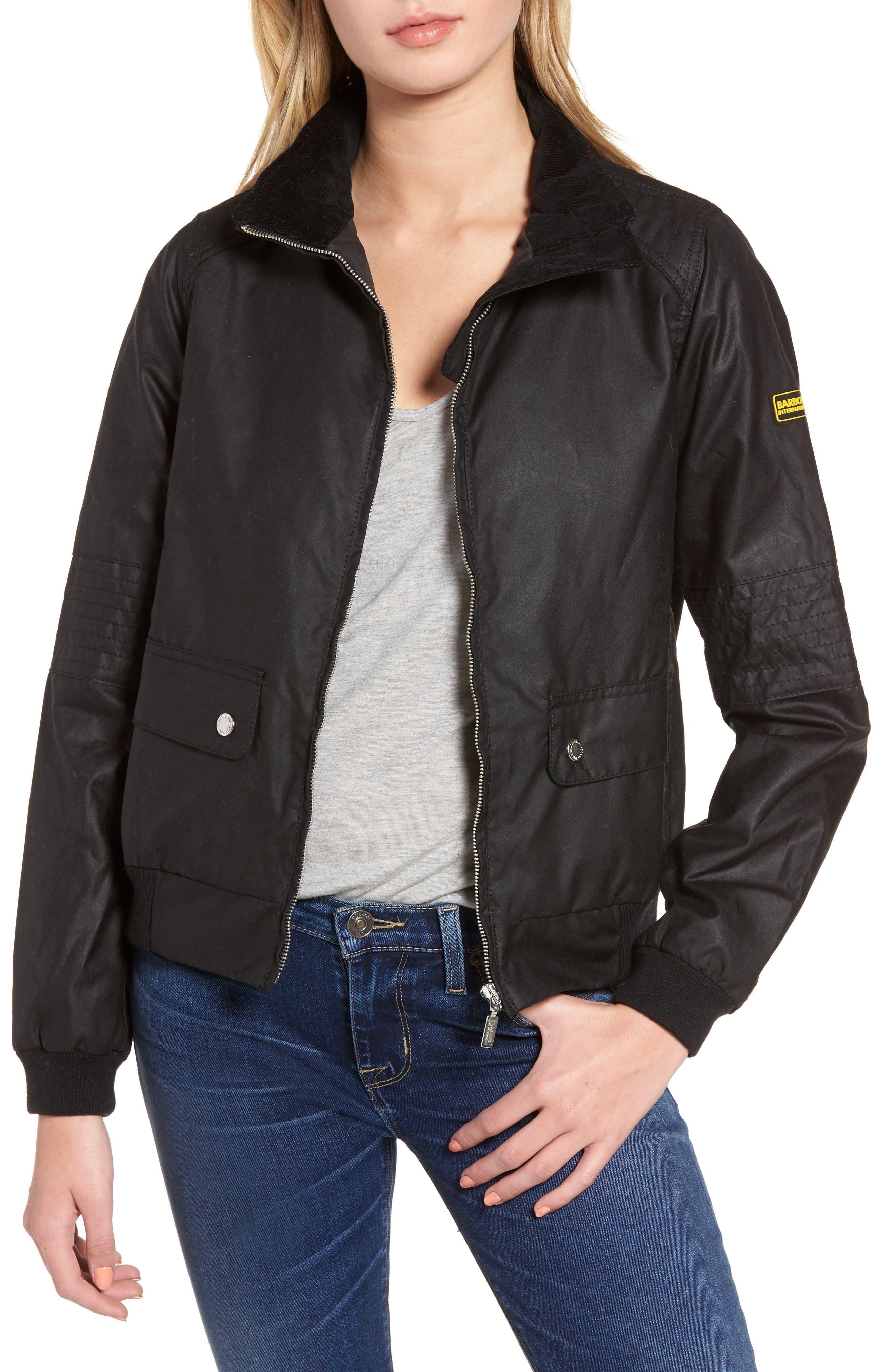 Tain Waxed Bomber Jacket,                         Main,                         color, Black