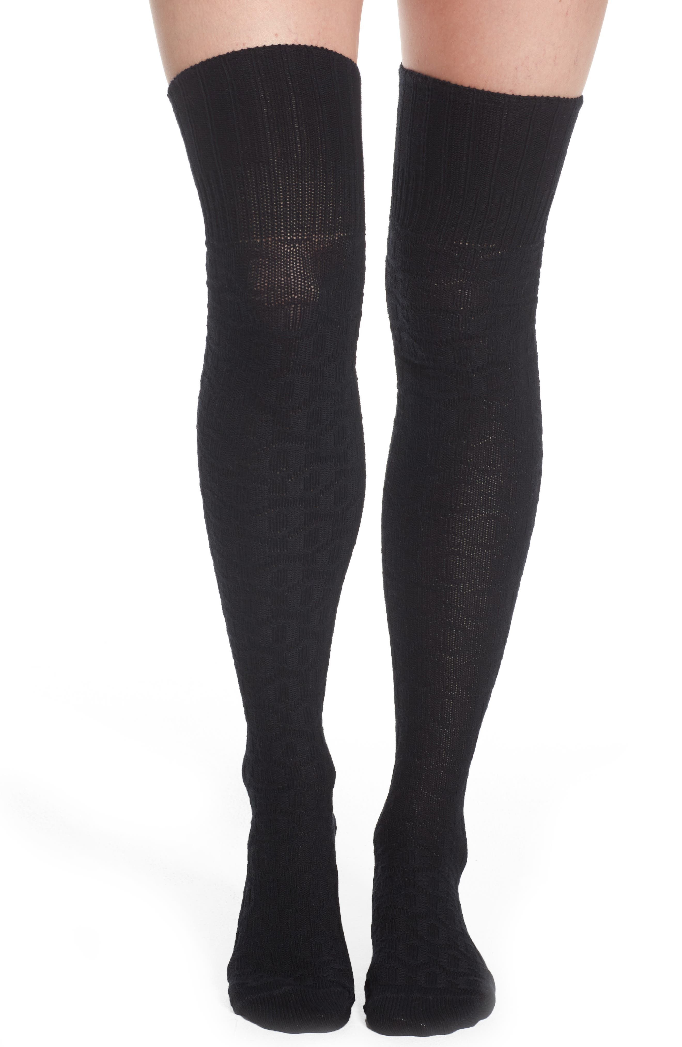 Textured Knit over the Knee Socks,                             Main thumbnail 1, color,                             Black