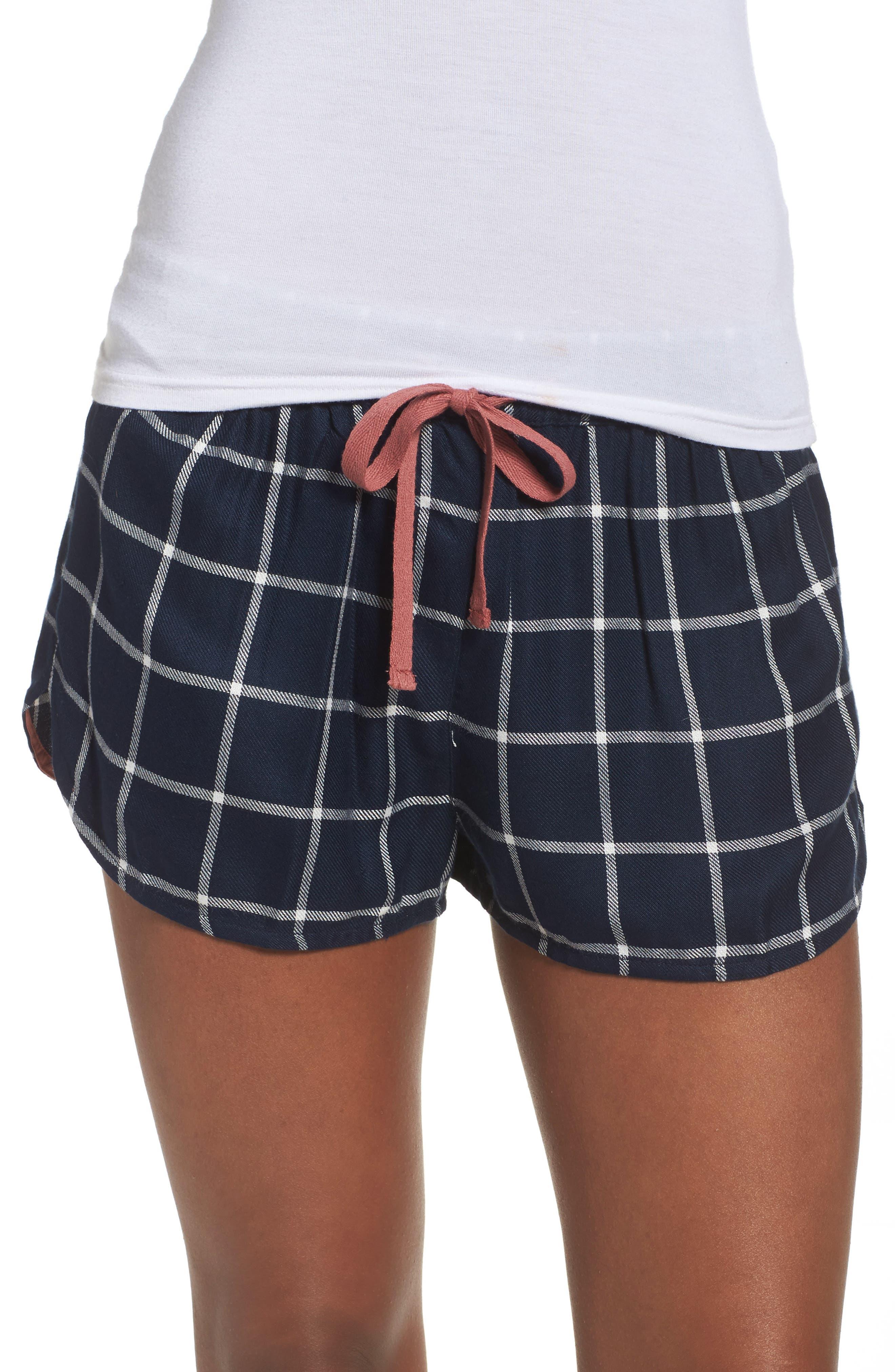 Main Image - Topshop Windowpane Check Pajama Shorts