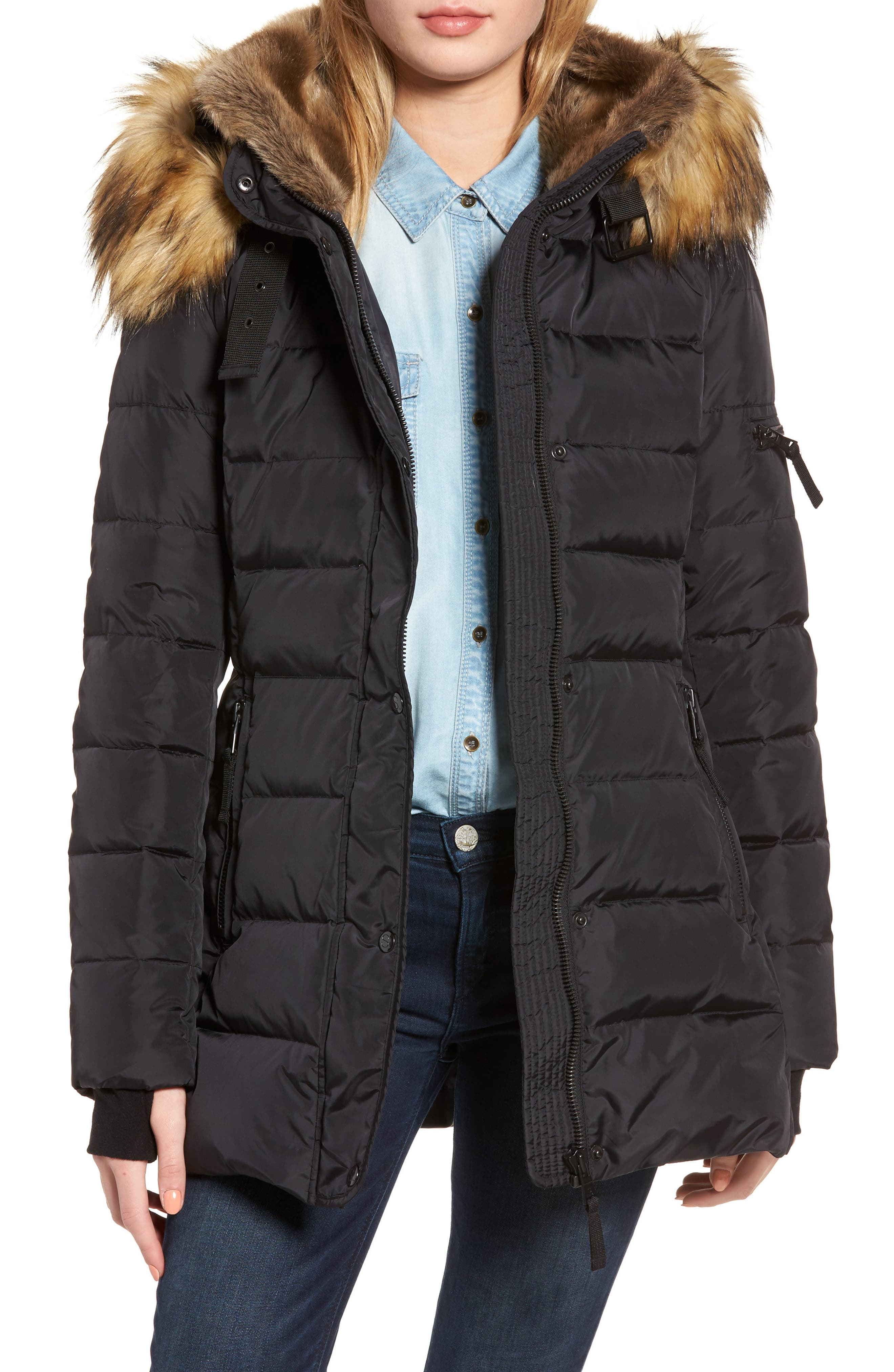 S13 Faux Fur Hooded Coat,                         Main,                         color, Black