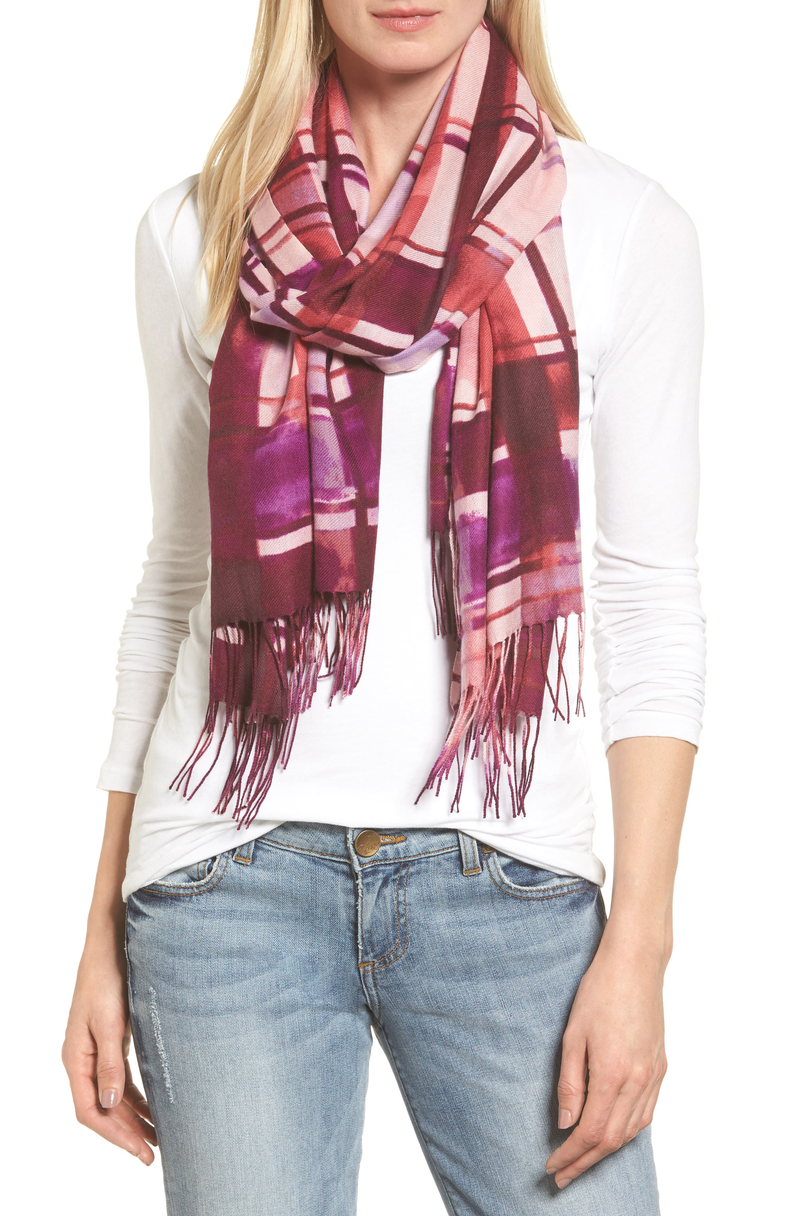 Alternate Image 1 Selected - Nordstrom Handicraft Plaid Tissue Weight Wool & Cashmere Scarf