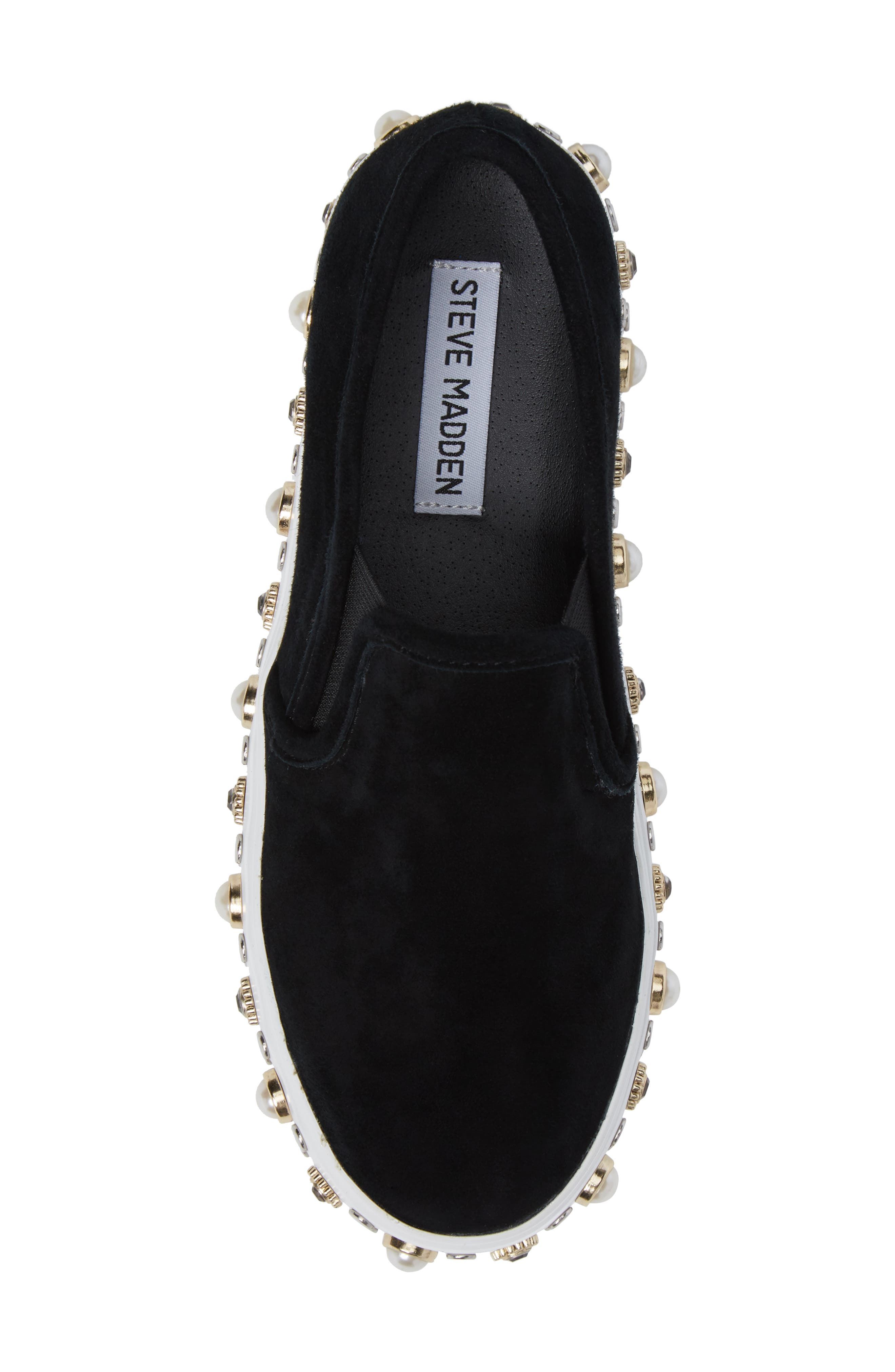 Glitzy Slip-On Sneaker,                             Alternate thumbnail 5, color,                             Black Suede