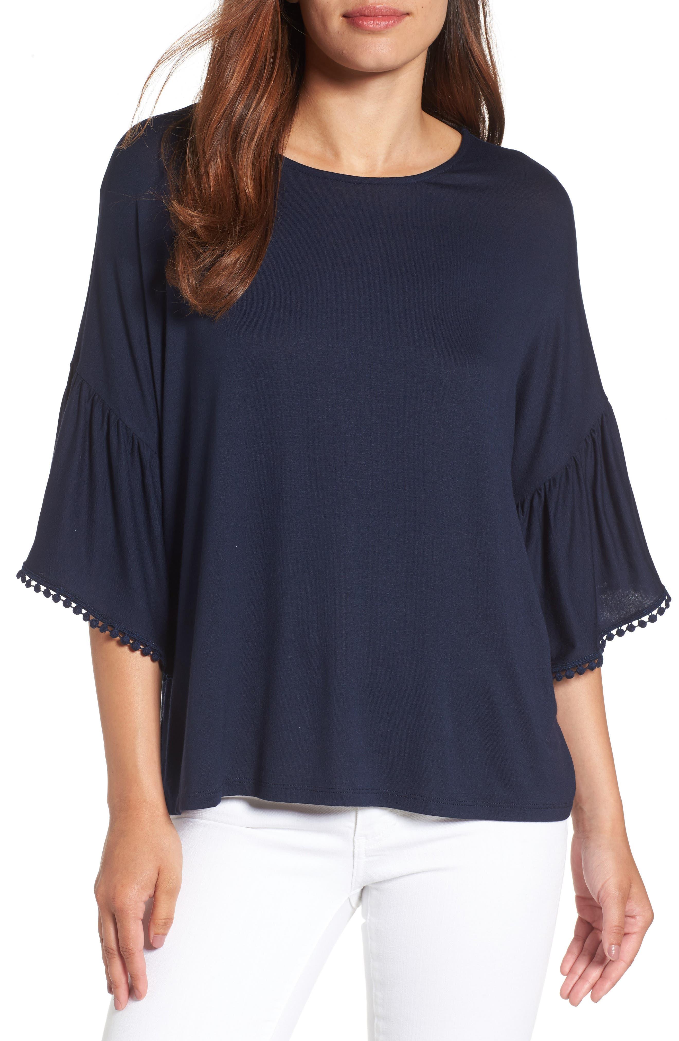 Bobeau Flounce Sleeve Knit Top (Regular & Petite)